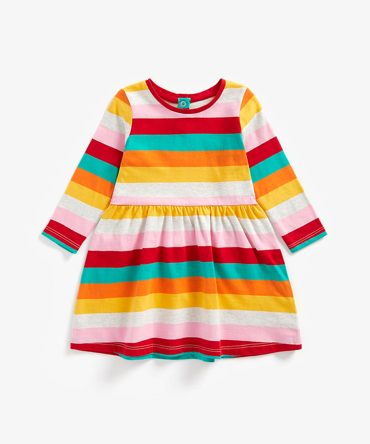 Mothercare | Girls Full Sleeves Dress Rainbow Stripes - Multicolor