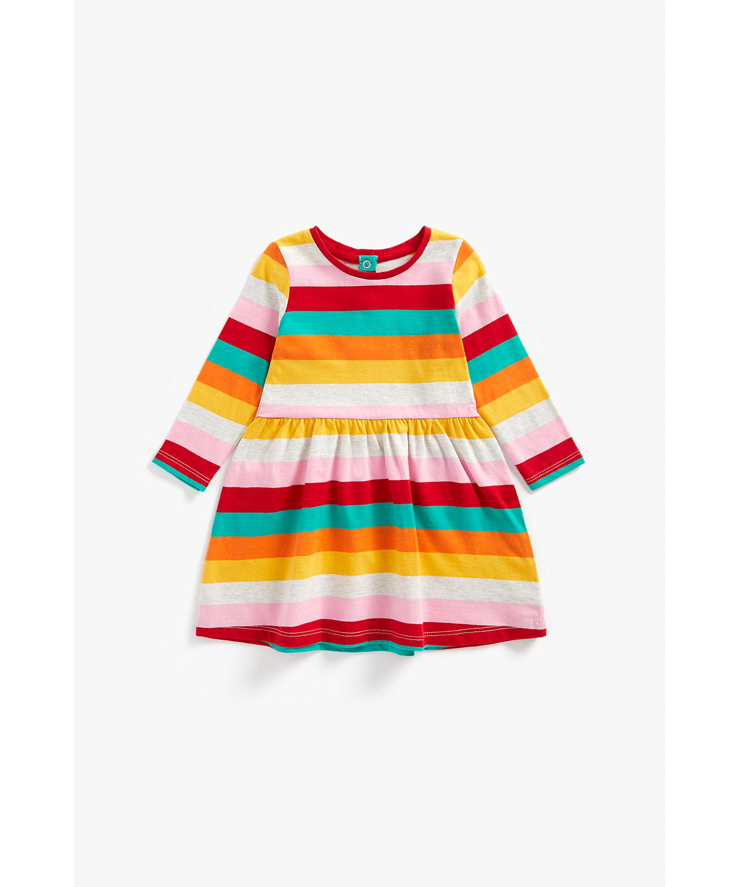 Mothercare   Girls Full Sleeves Dress Rainbow Stripes - Multicolor