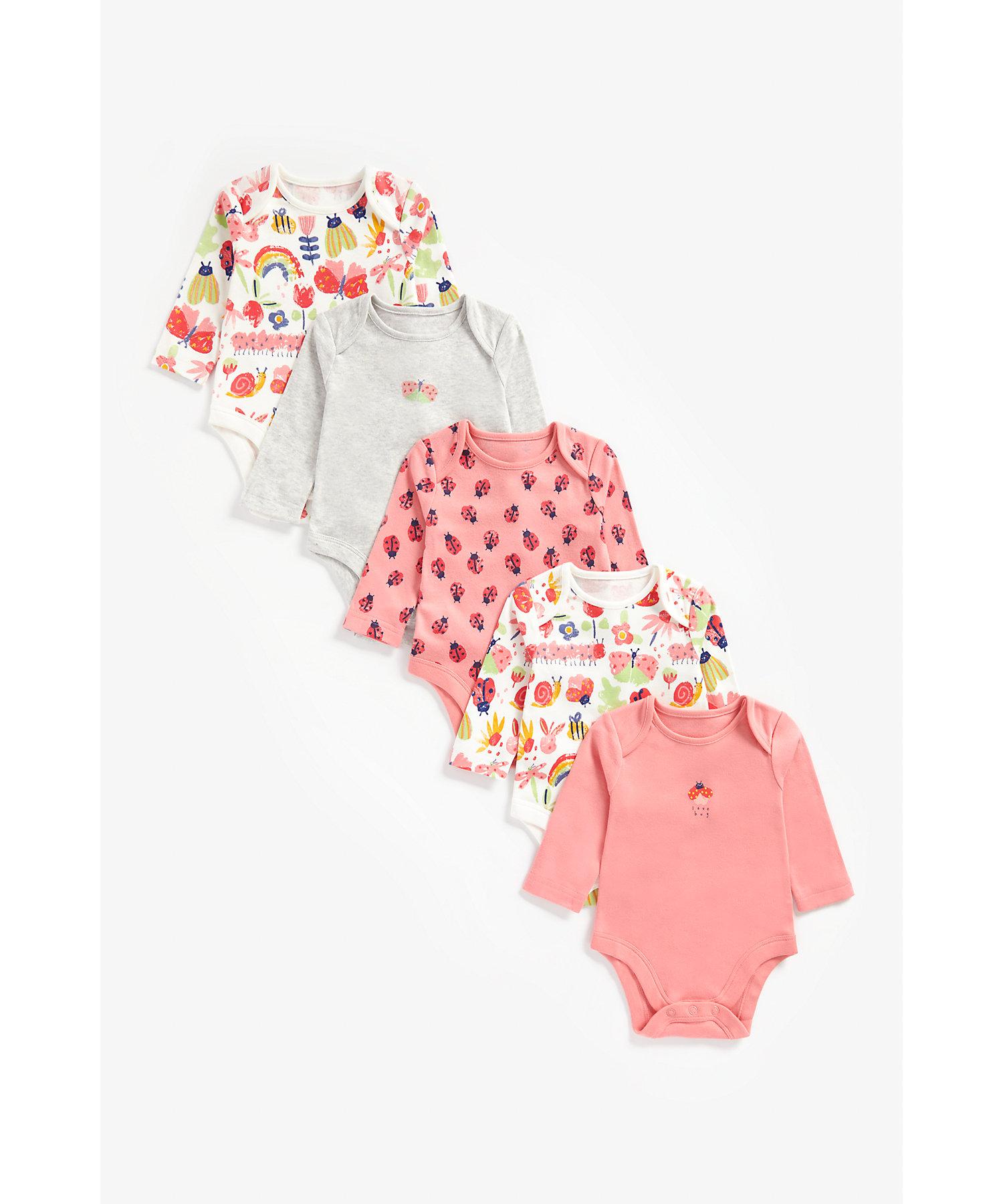 Mothercare | Girls Full Sleeves Bodysuit Bug Print - Pack Of 5 - Multicolor