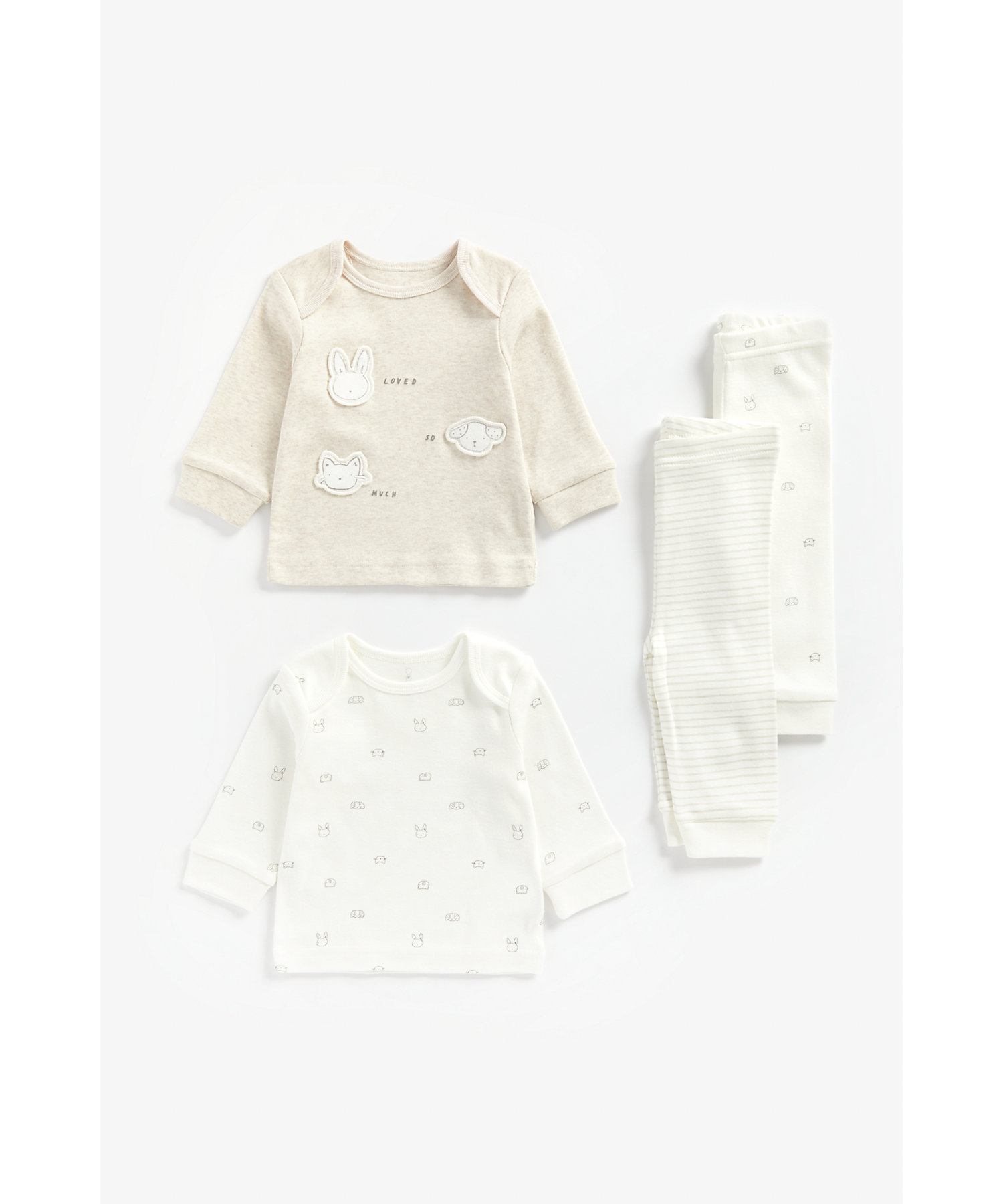 Mothercare | Unisex Full Sleeves Pyjama Set Animal Face Patchwork - Pack Of 2 - Beige