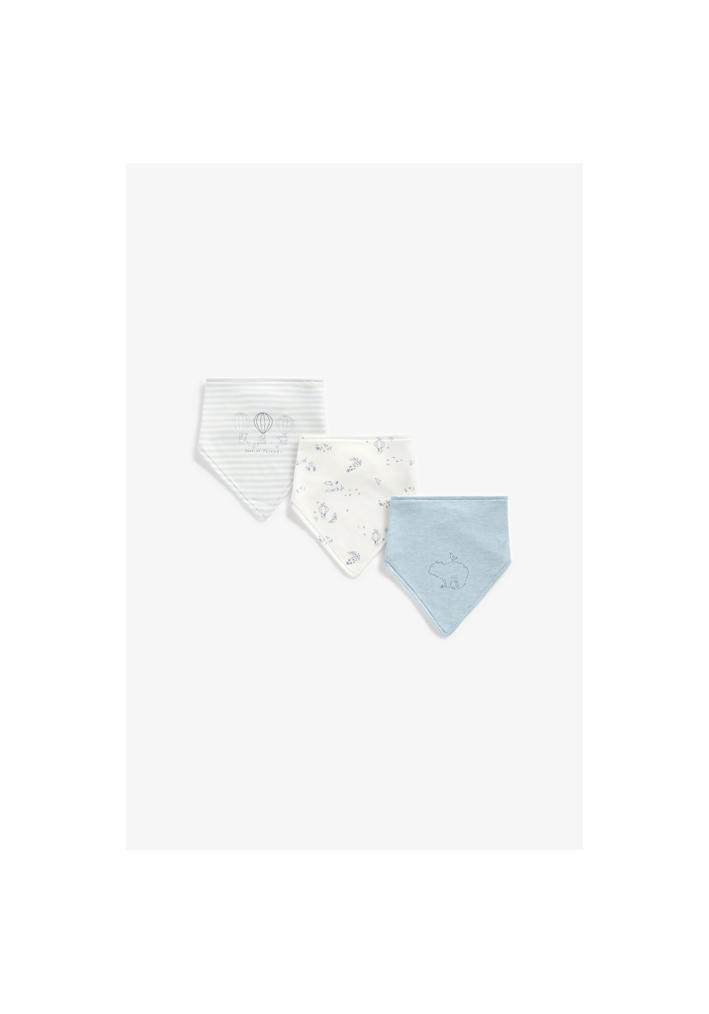 Mothercare | Boys Bibs Printed - Pack Of 3 - Blue