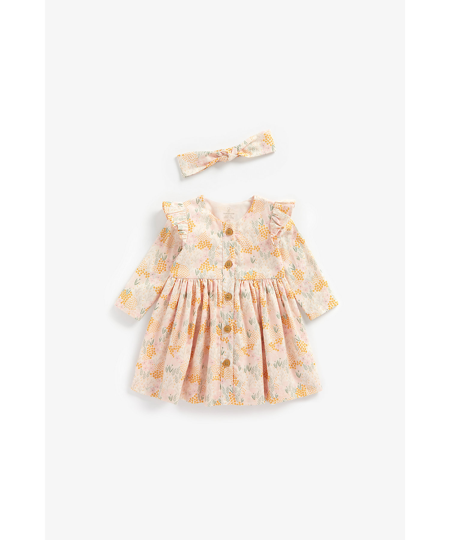 Mothercare | Girls Full Sleeves Dress With Headband Floral Print - Multicolor