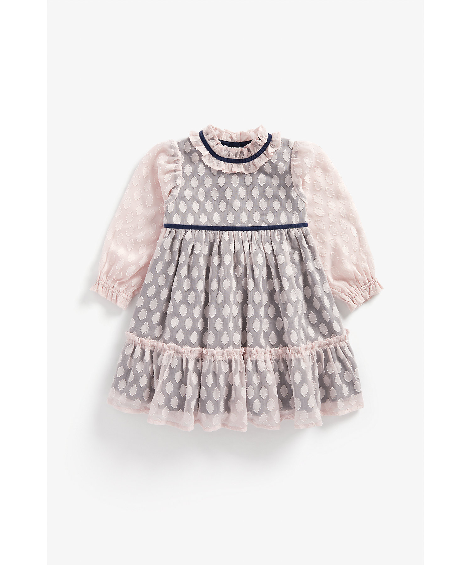 Mothercare | Girls Full Sleeves Party Dress With Frilled Neckline - Pink