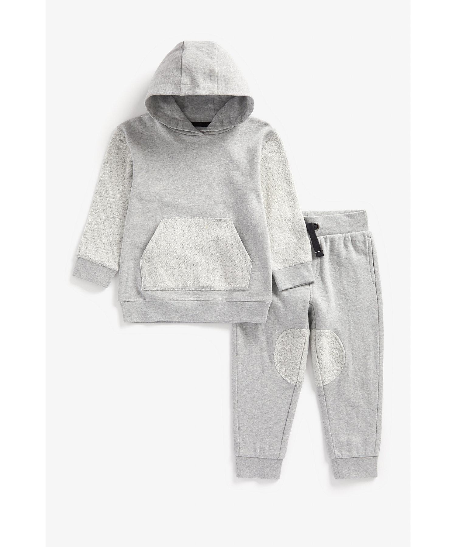 Mothercare | Boys Full Sleeves Jog Set Hooded - Grey