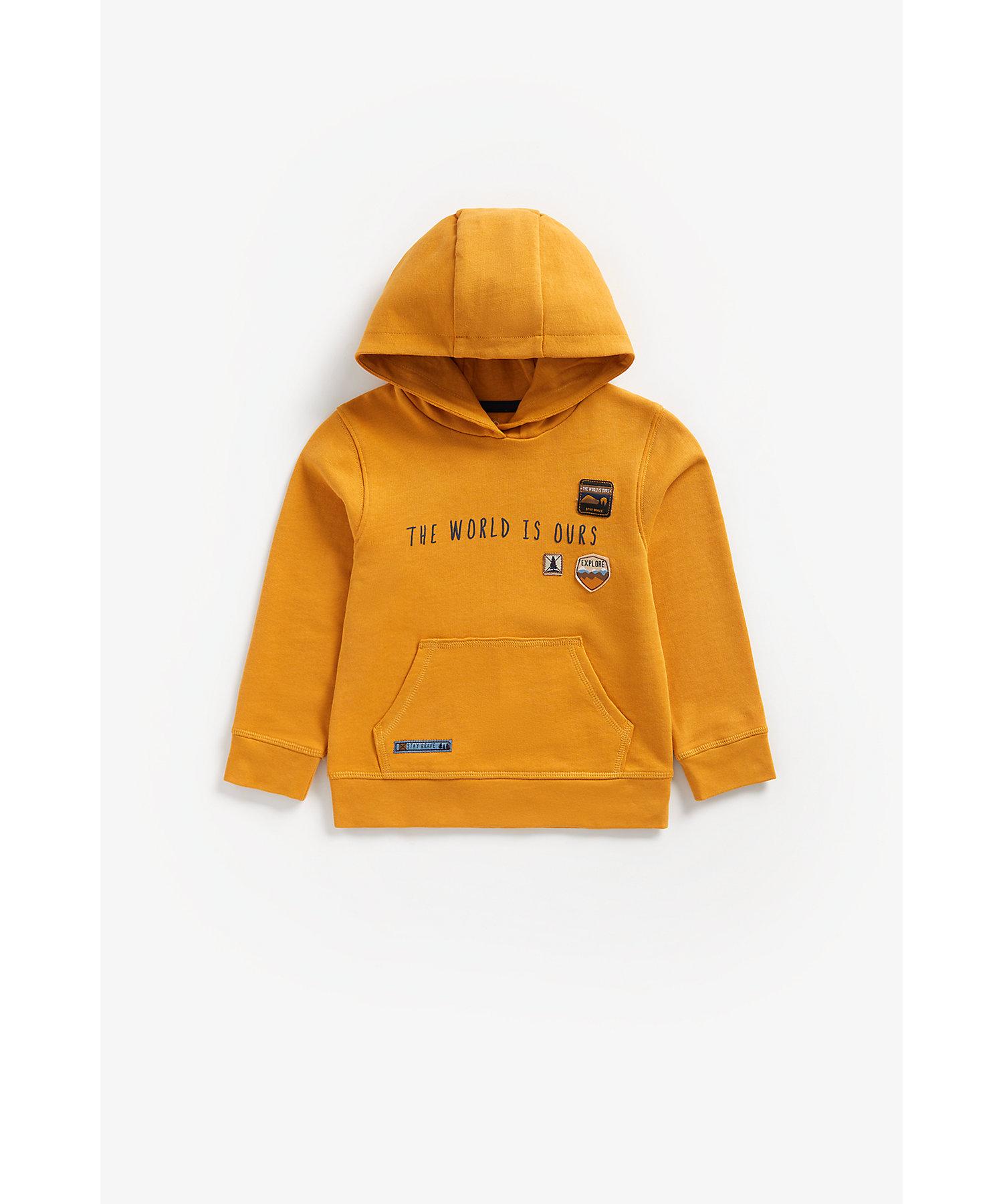 Mothercare | Boys Full Sleeves Hooded Sweatshirt Badge Detail - Mustard