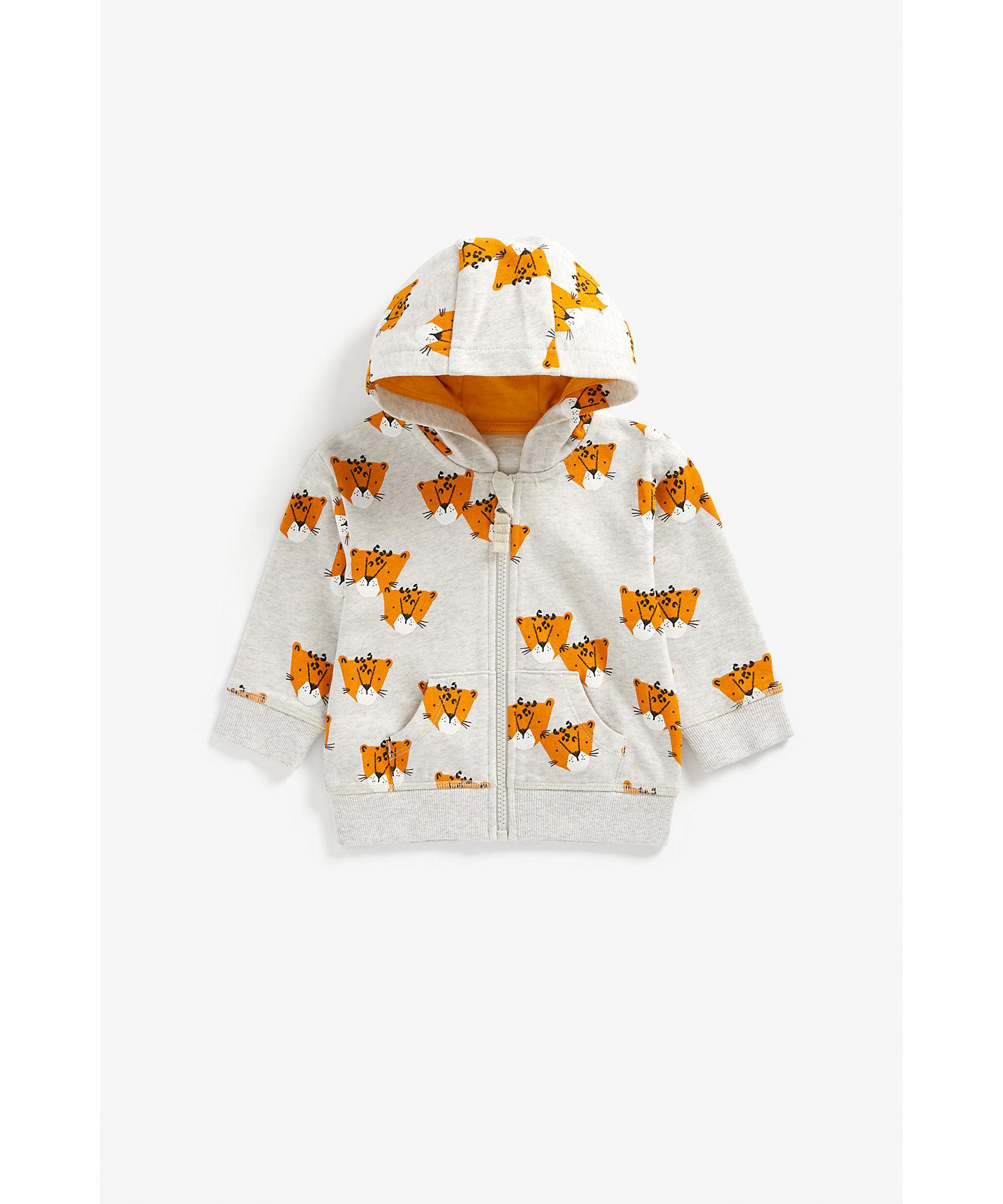 Mothercare | Boys Full Sleeves Hooded Sweatshirt Leopard Print - Grey