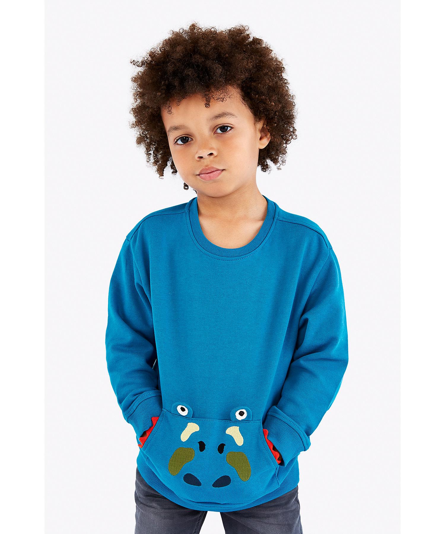 Mothercare | Boys Full Sleeves Sweatshirt 3D Dino Details - Blue