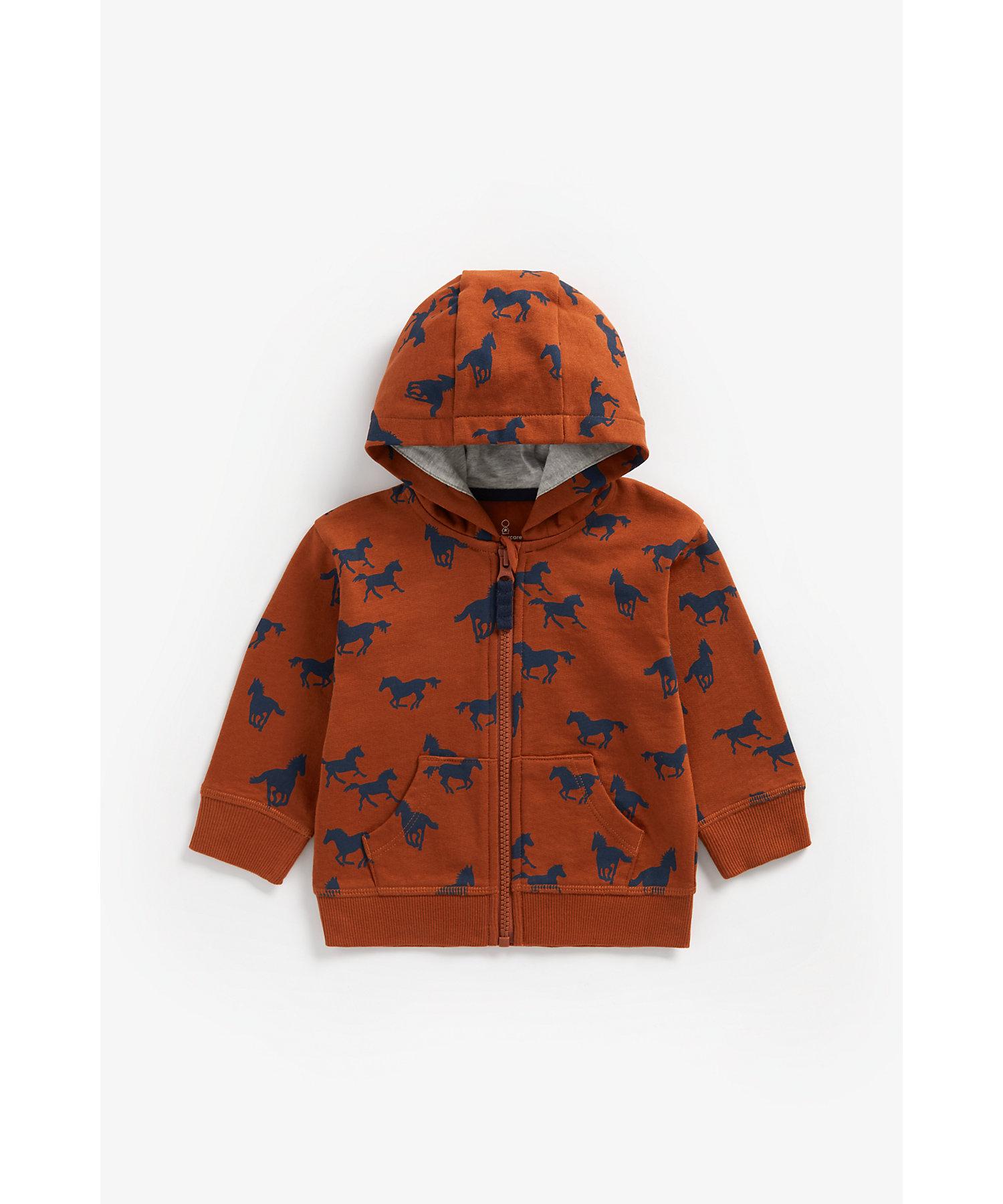 Mothercare   Boys Full Sleeves Hooded Sweatshirt Horse Print - Brown
