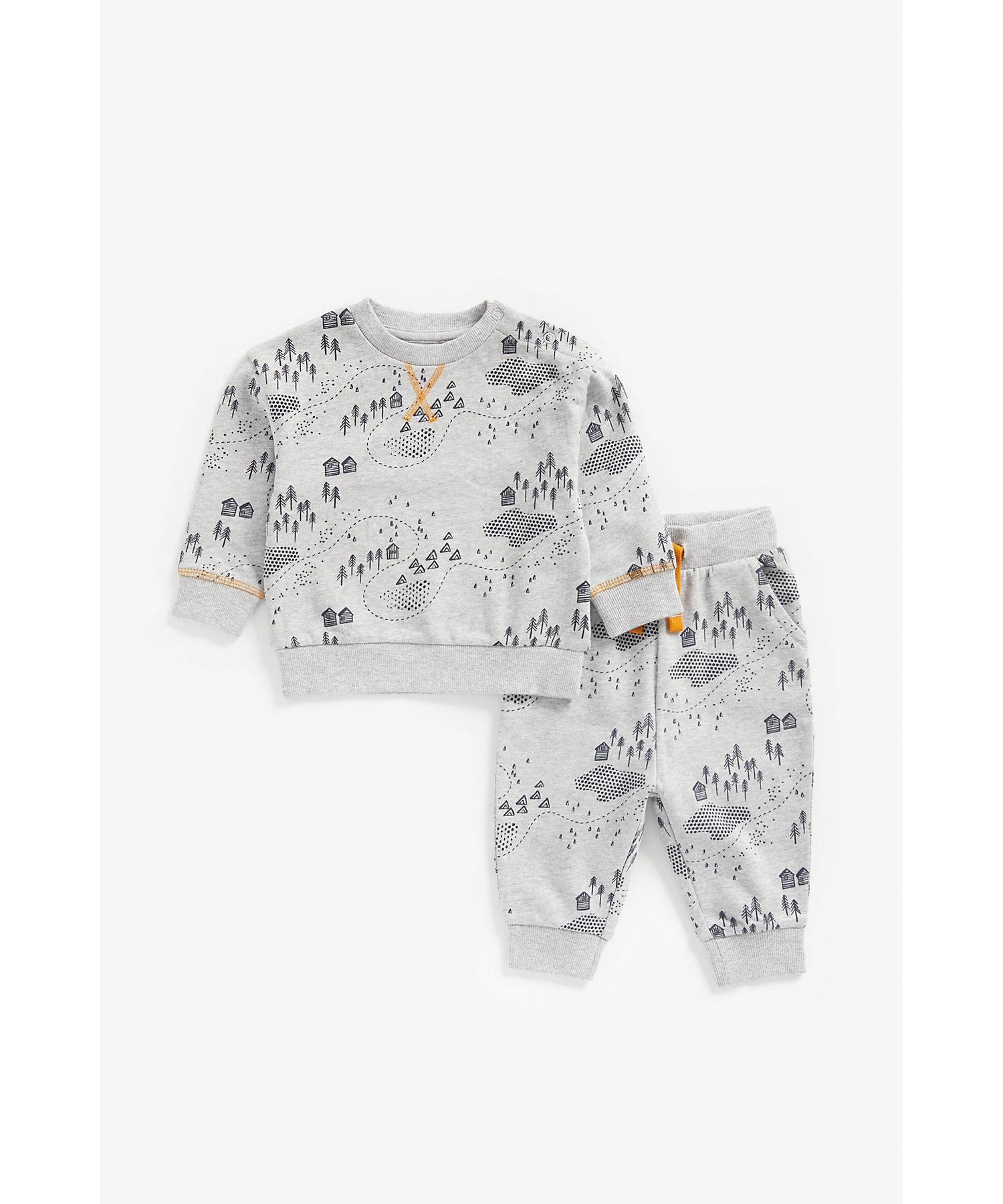 Mothercare | Boys Full Sleeves Sweat Jogger Set -Grey