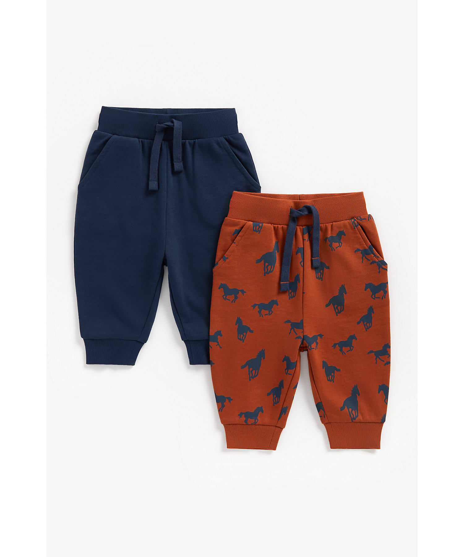 Mothercare | Boys Joggers Horse Print - Pack Of 2 - Multicolor