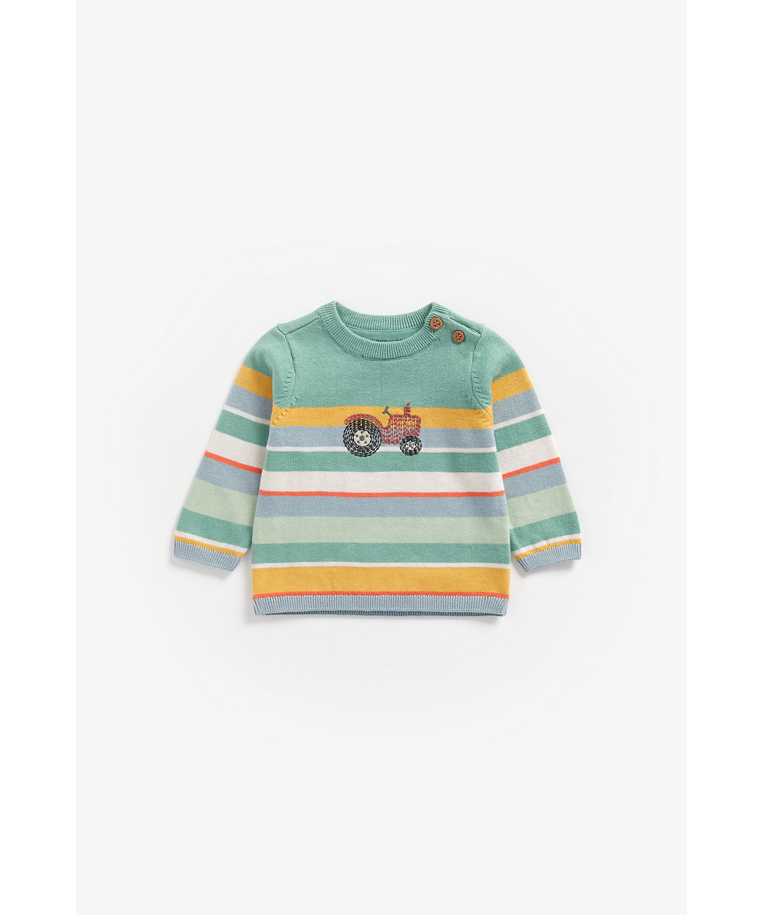 Mothercare   Boys Full Sleeves Sweater Tractor Embroidery - Multicolor