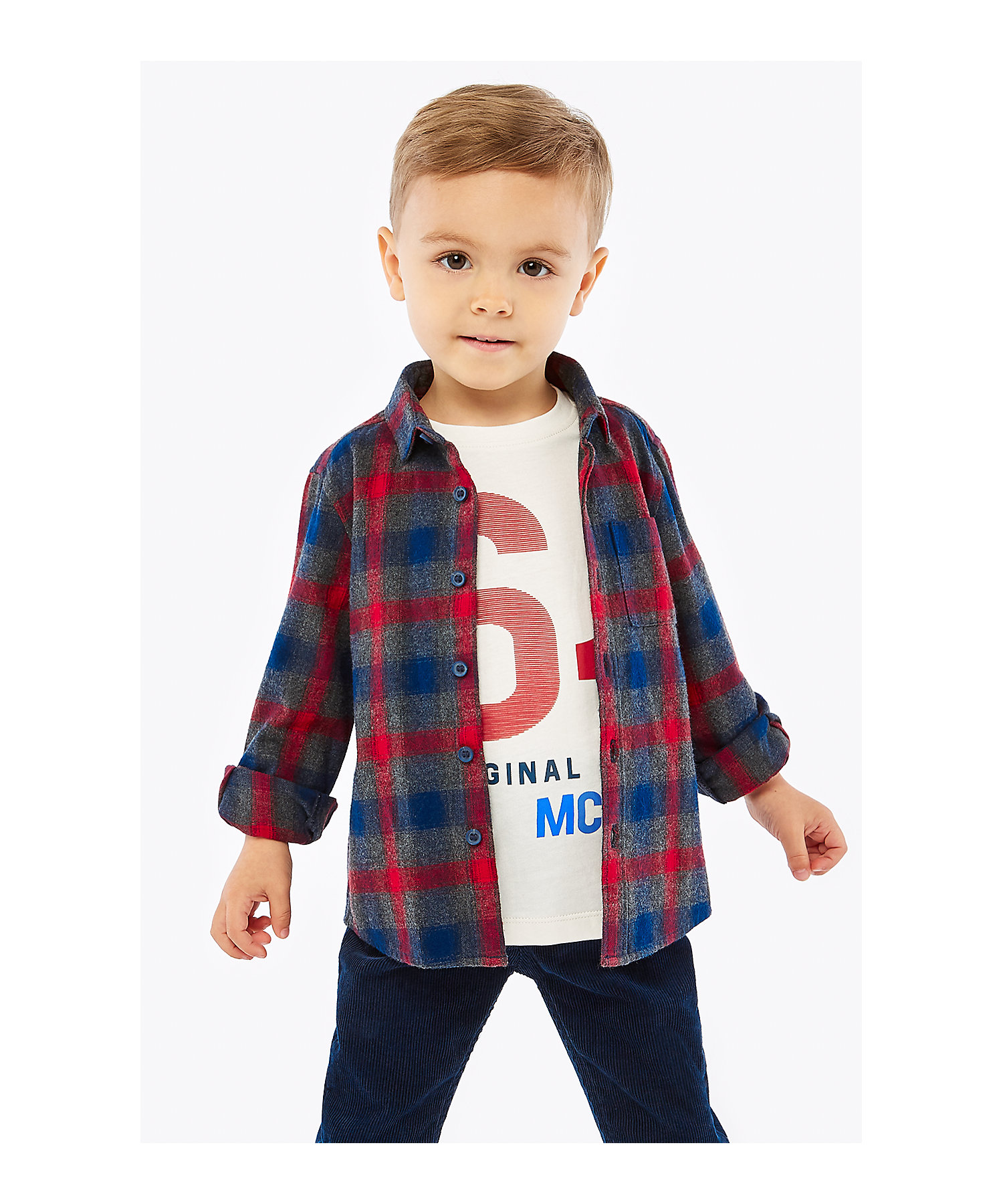 Mothercare | Boys Full Sleeves Check Shirt And Tee Set Printed - Multicolor