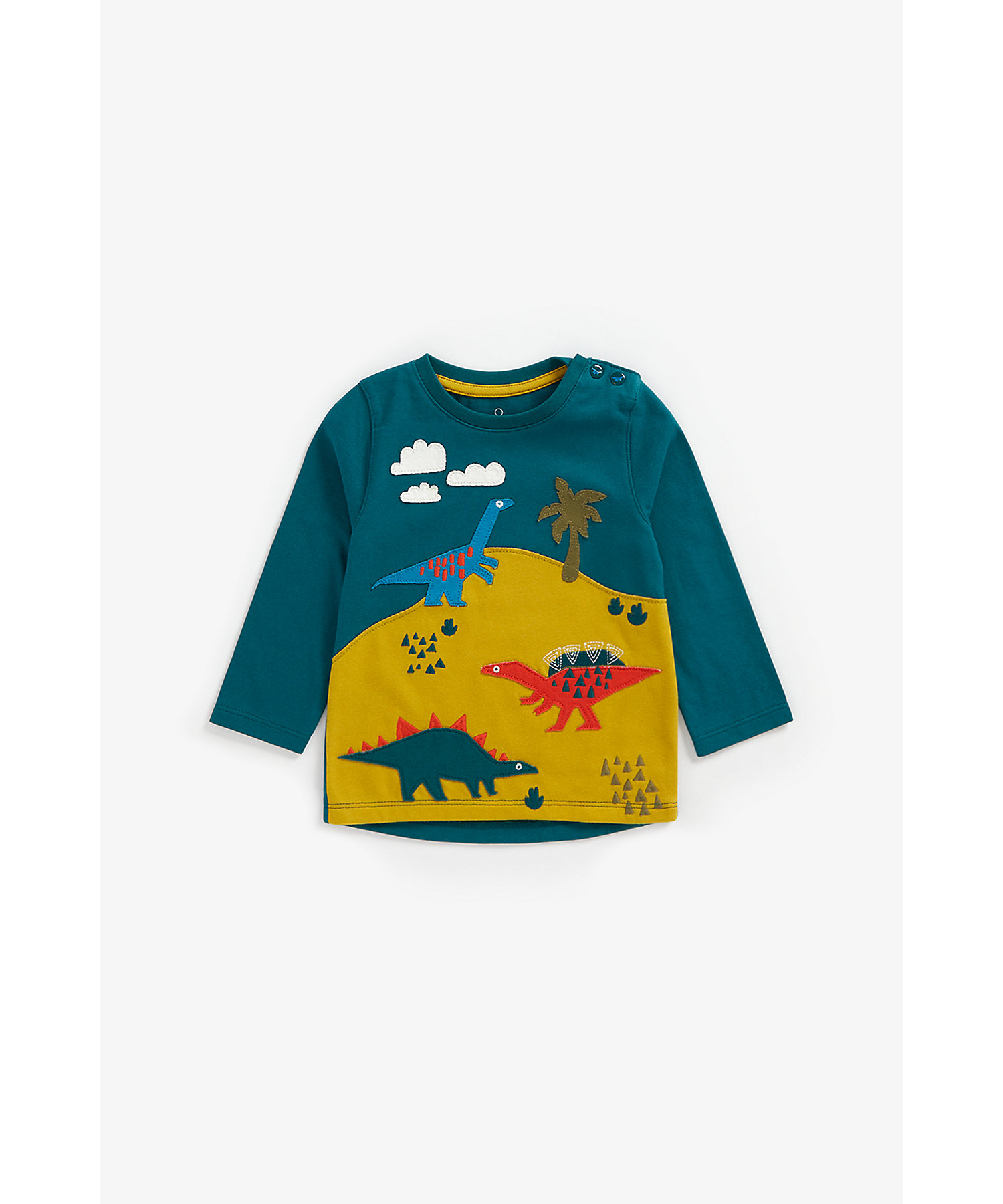 Mothercare   Boys Full Sleeves T-Shirt Dino Patchwork - Teal