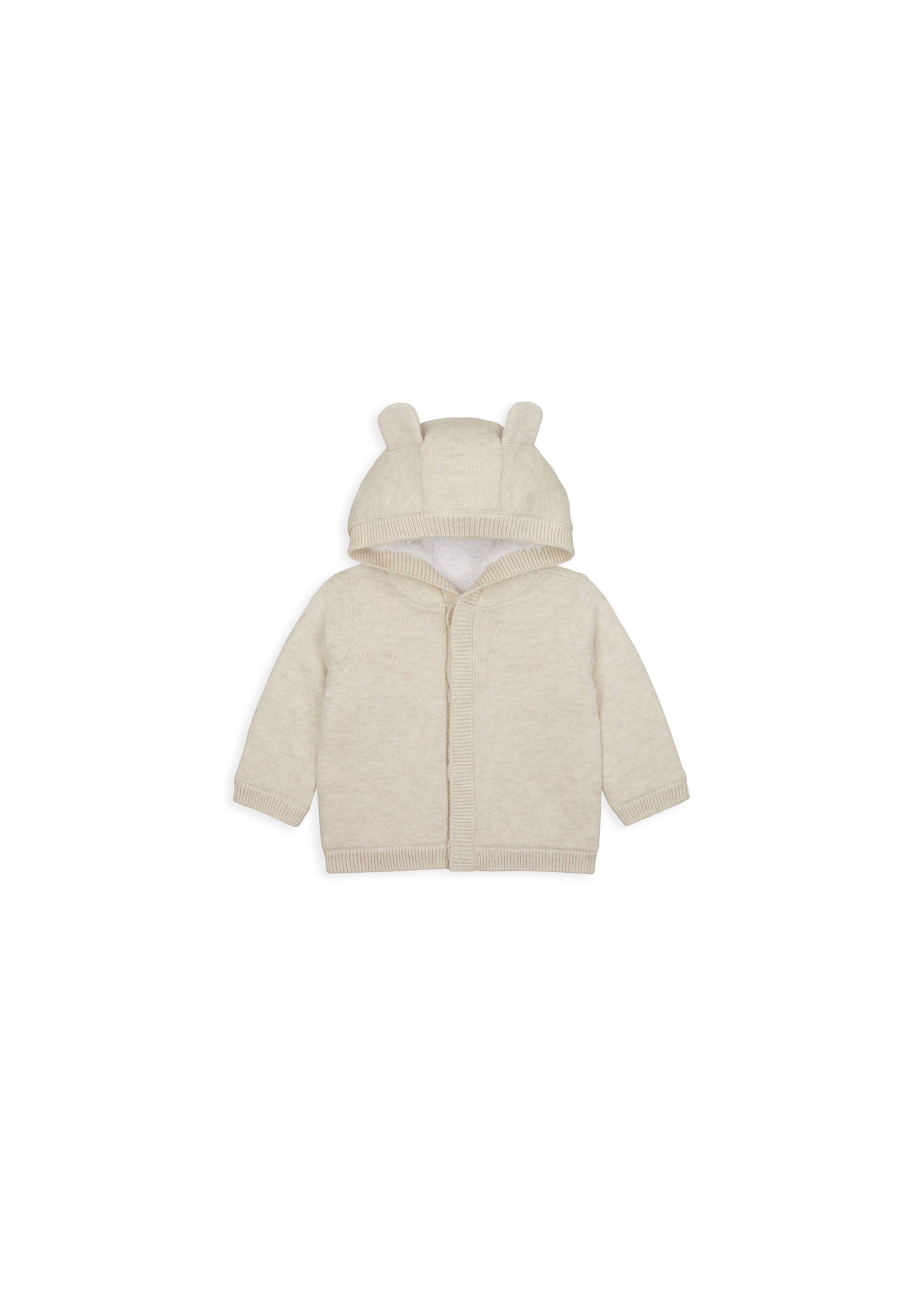 Mothercare | Unisex Full Sleeves Hooded Cardigan 3D Ear Details - Beige