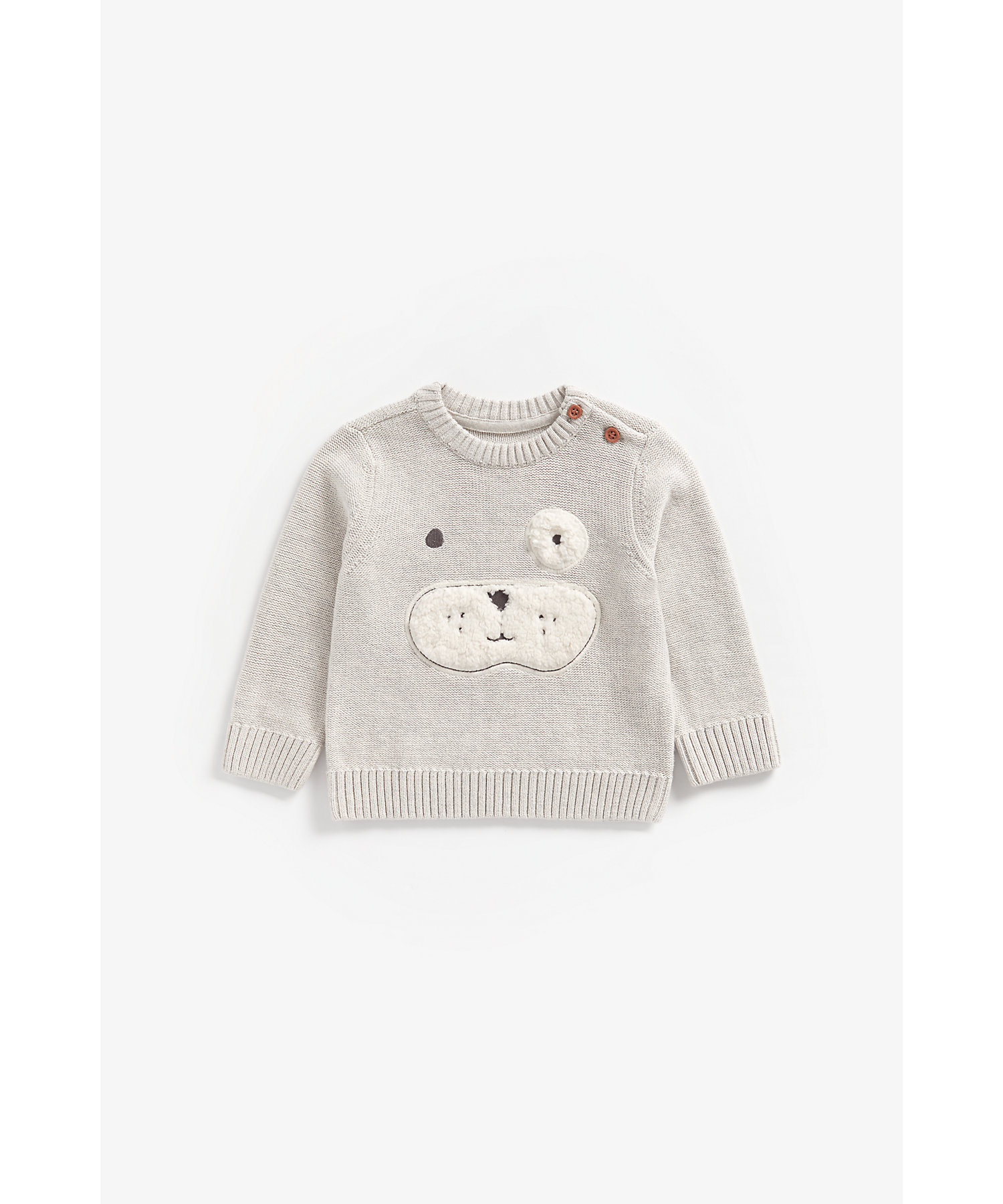Mothercare | Boys Full Sleeves Sweater Puppy Patchwork - Grey
