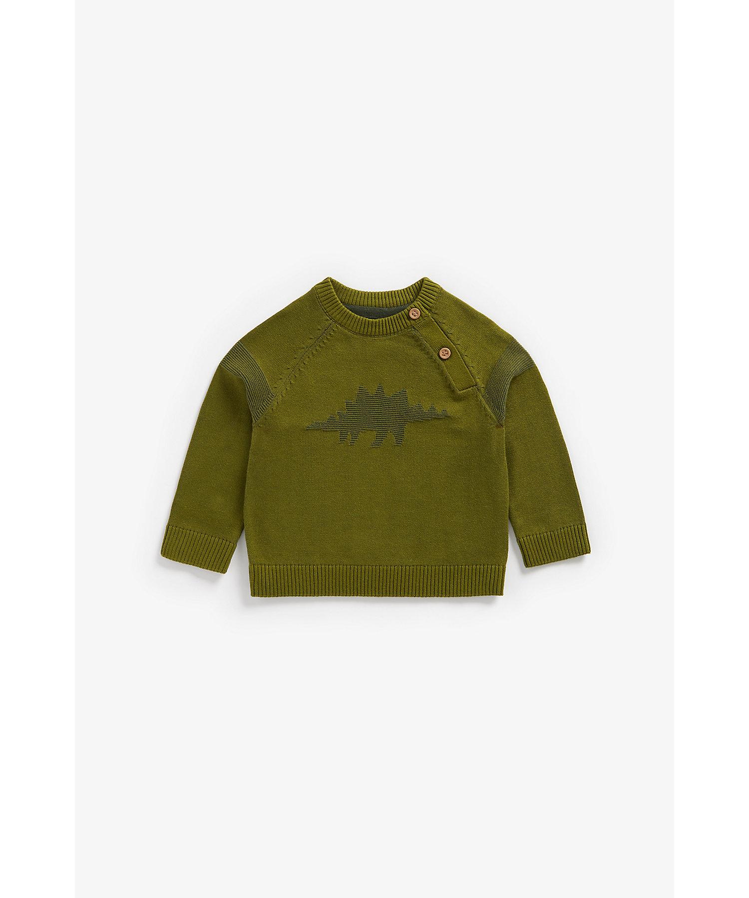 Mothercare   Boys Full Sleeves Sweater Dino Pattern - Khaki