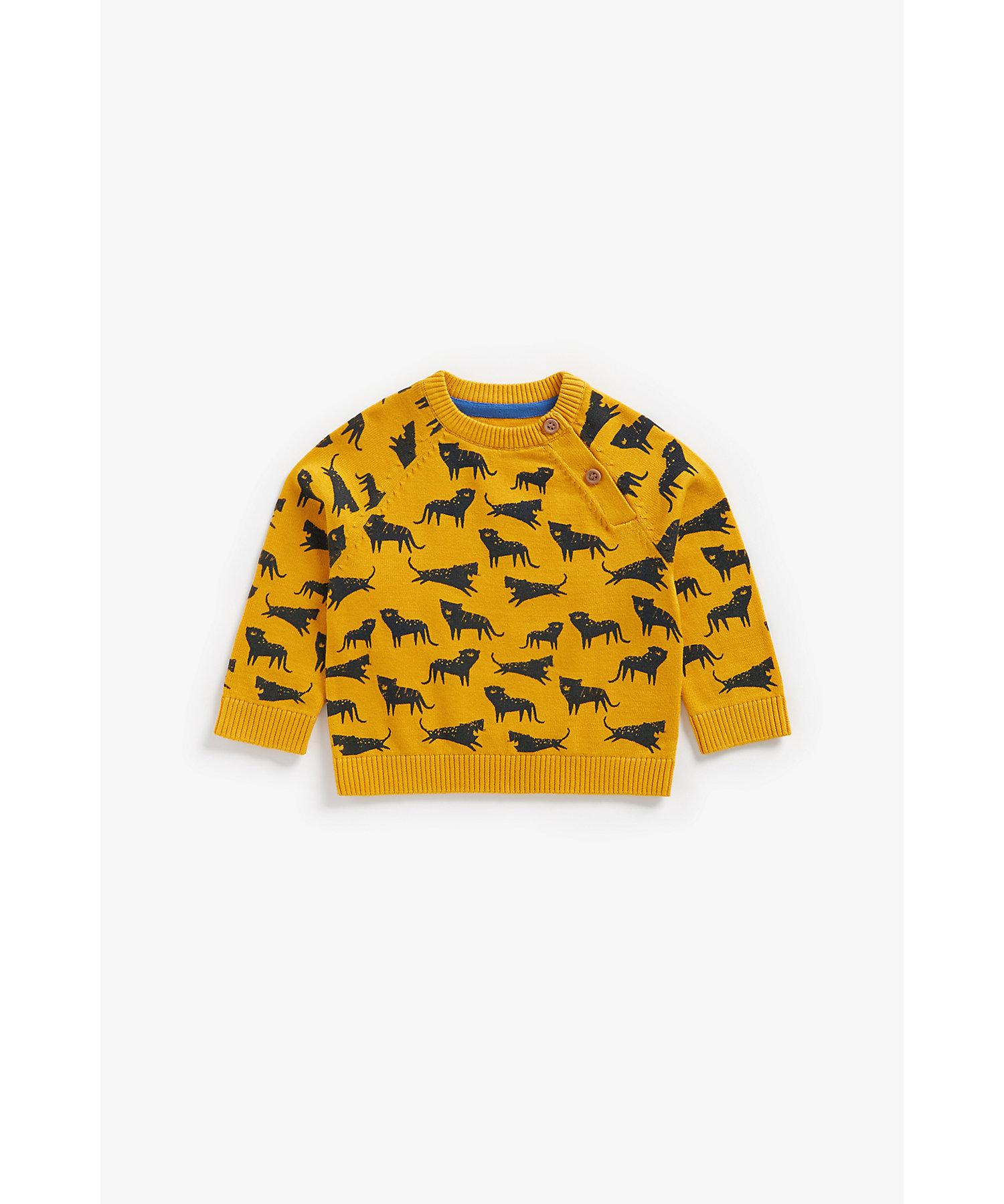 Mothercare | Boys Full Sleeves Sweater Leopard Design - Mustard