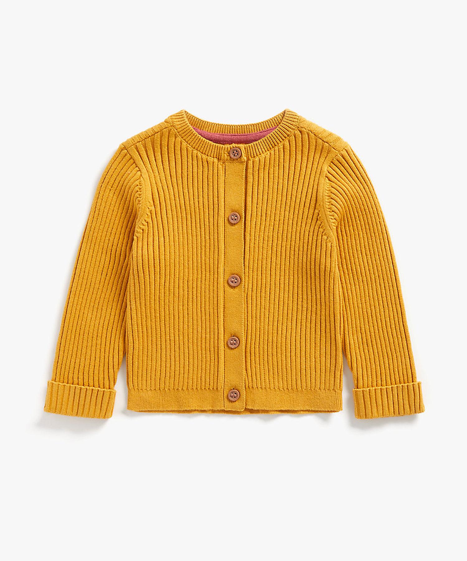 Mothercare | Girls Full Sleeves Ribbed Cardigan - Mustard
