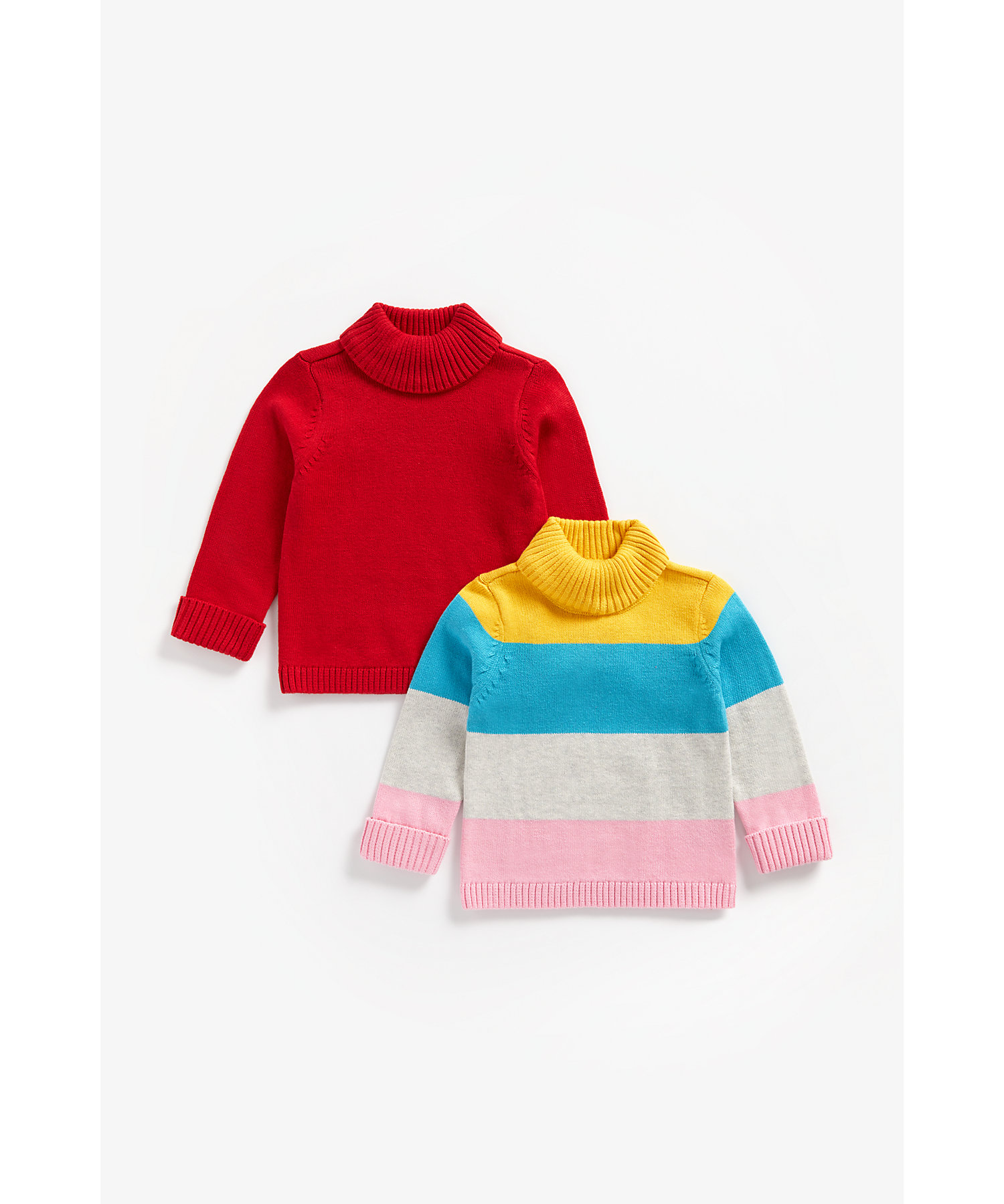 Mothercare | Girls Full Sleeves Roll Neck Sweater Block Stripes - Pack Of 2 - Multicolor