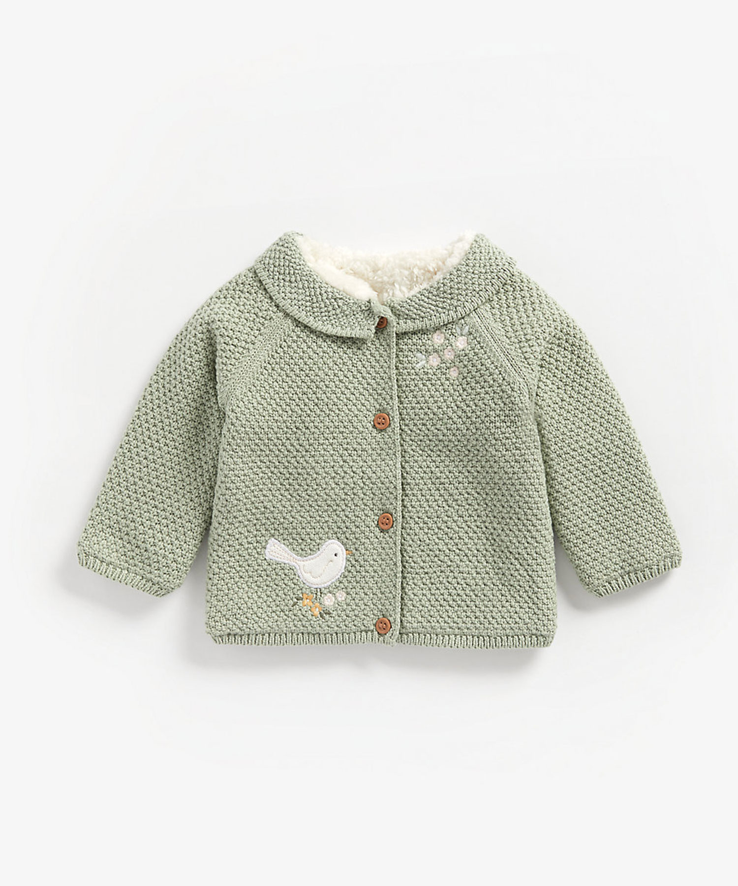 Mothercare | Girls Full Sleeves Borg-Lined Cardigan Bird Patchwork - Green