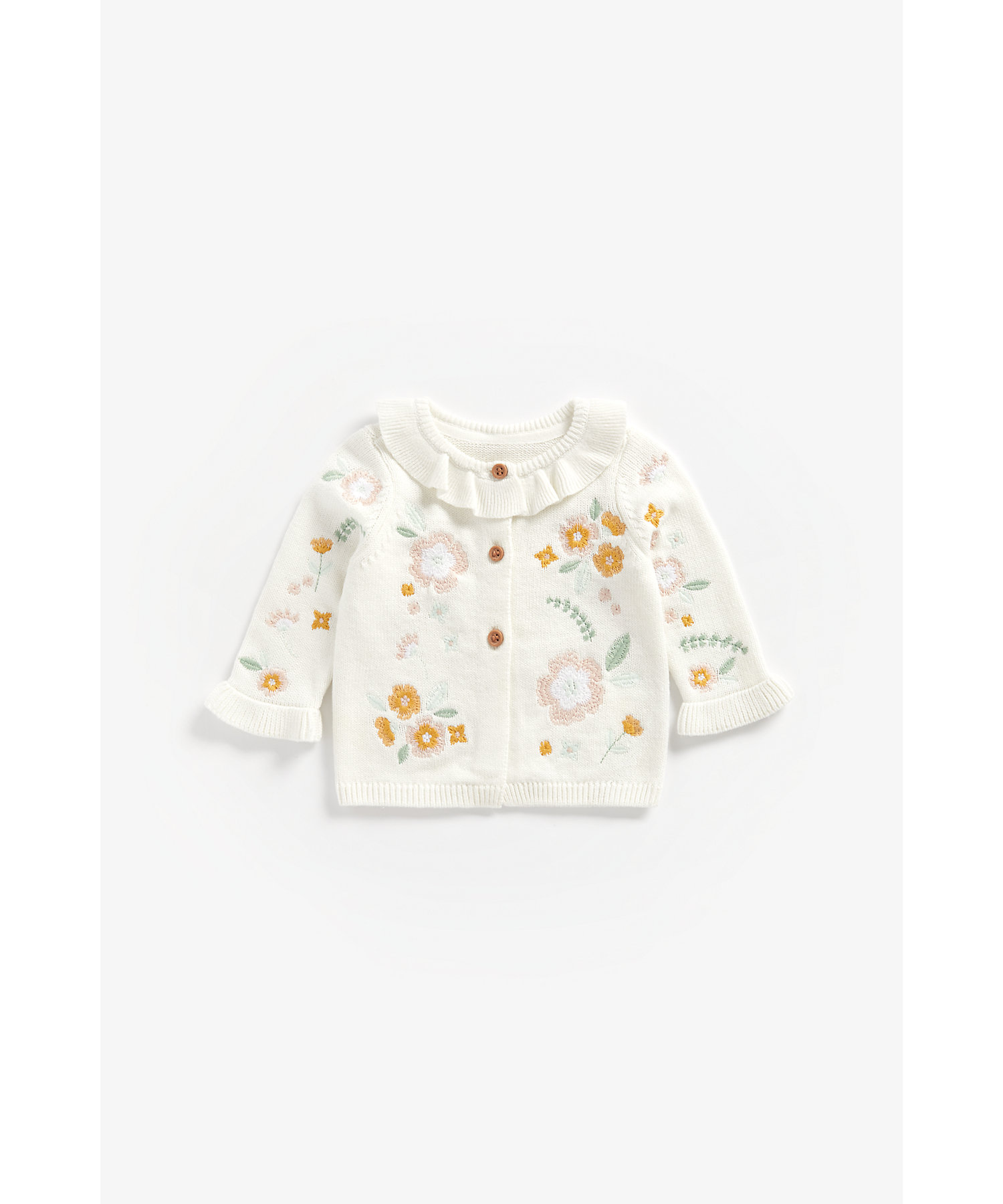 Mothercare | Girls Full Sleeves Cardigan Floral Embroidery - White