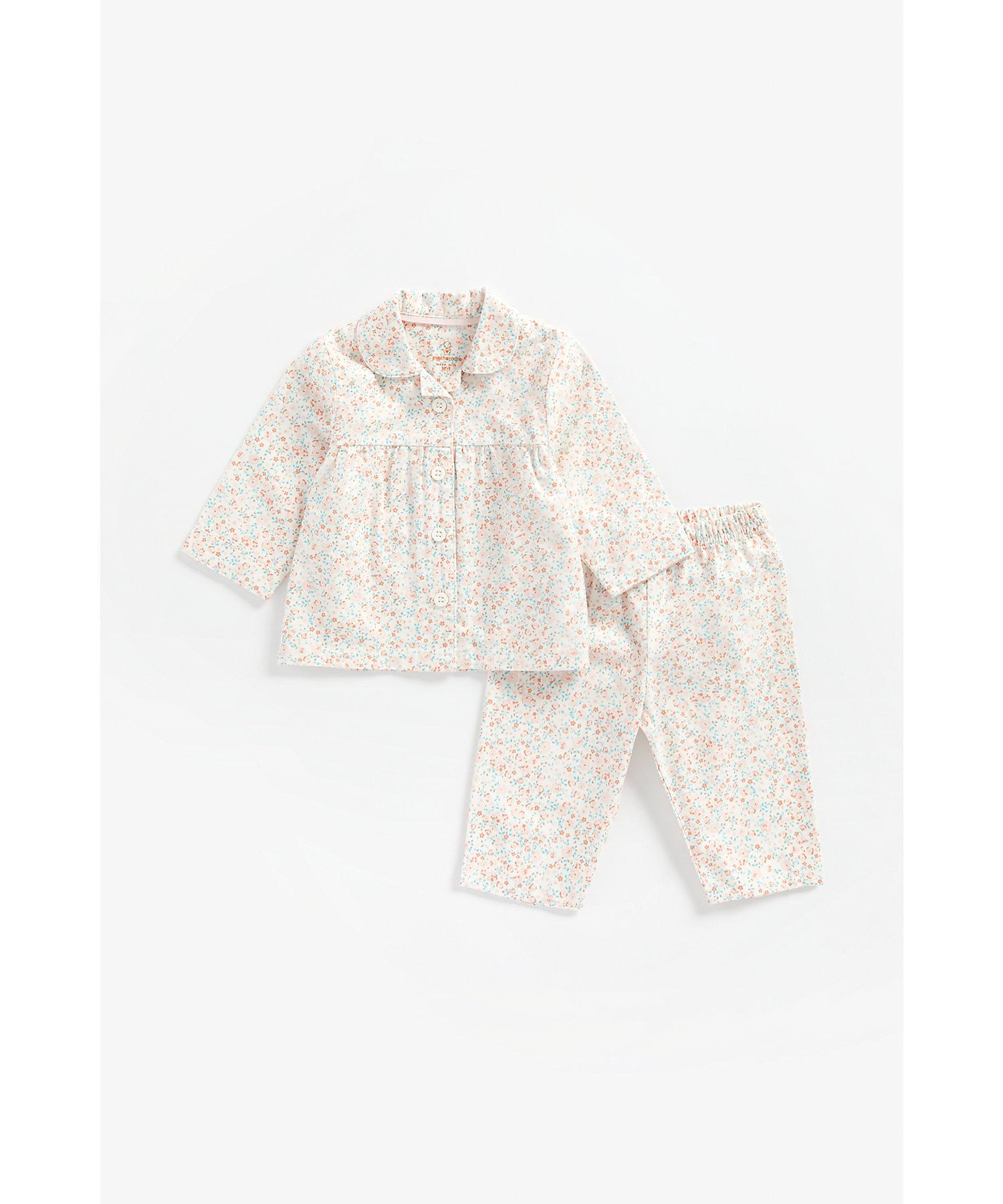 Mothercare | Girls Full Sleeves Pyjama Set Floral Print - Multicolor