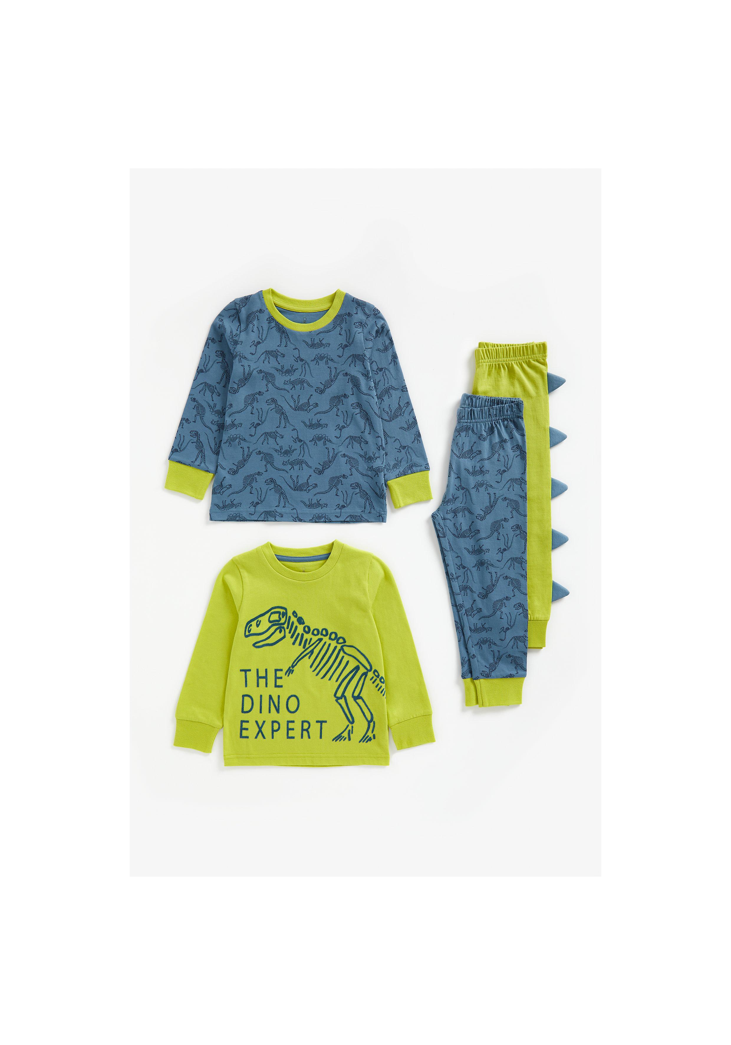 Mothercare | Boys Full Sleeves Pyjama Set Dino Print - Pack Of 2 - Multicolor