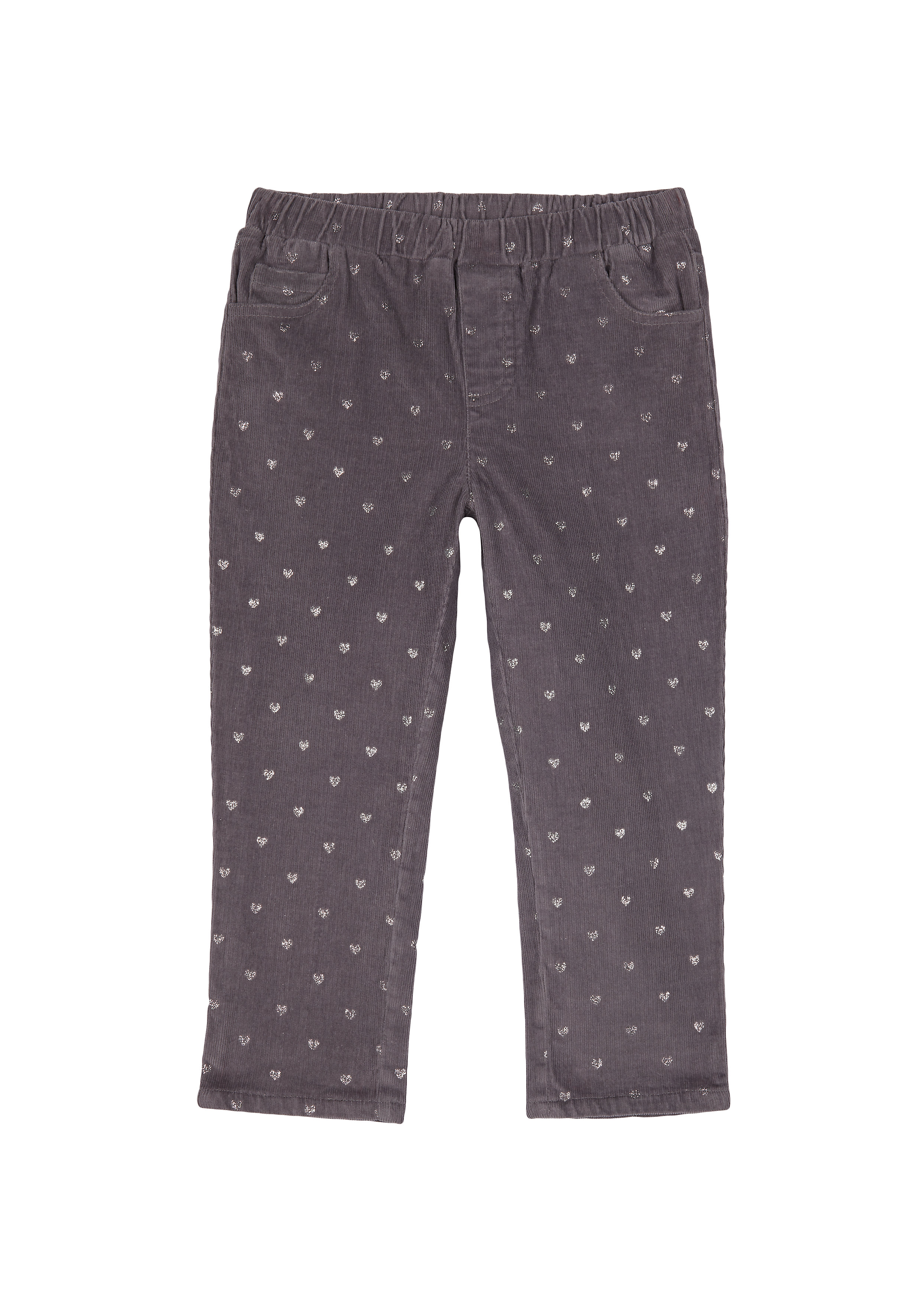 Mothercare   Girls Cord Jeggings Heart Print - Charcoal