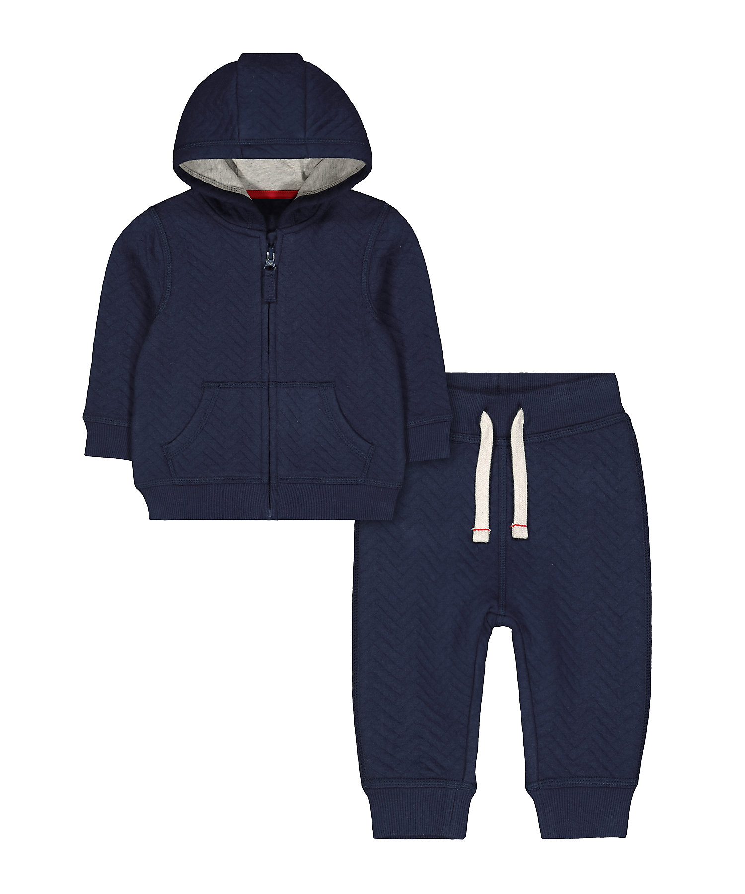 Mothercare | Boys Full Sleeves Hooded Jog Set Quilted - Navy