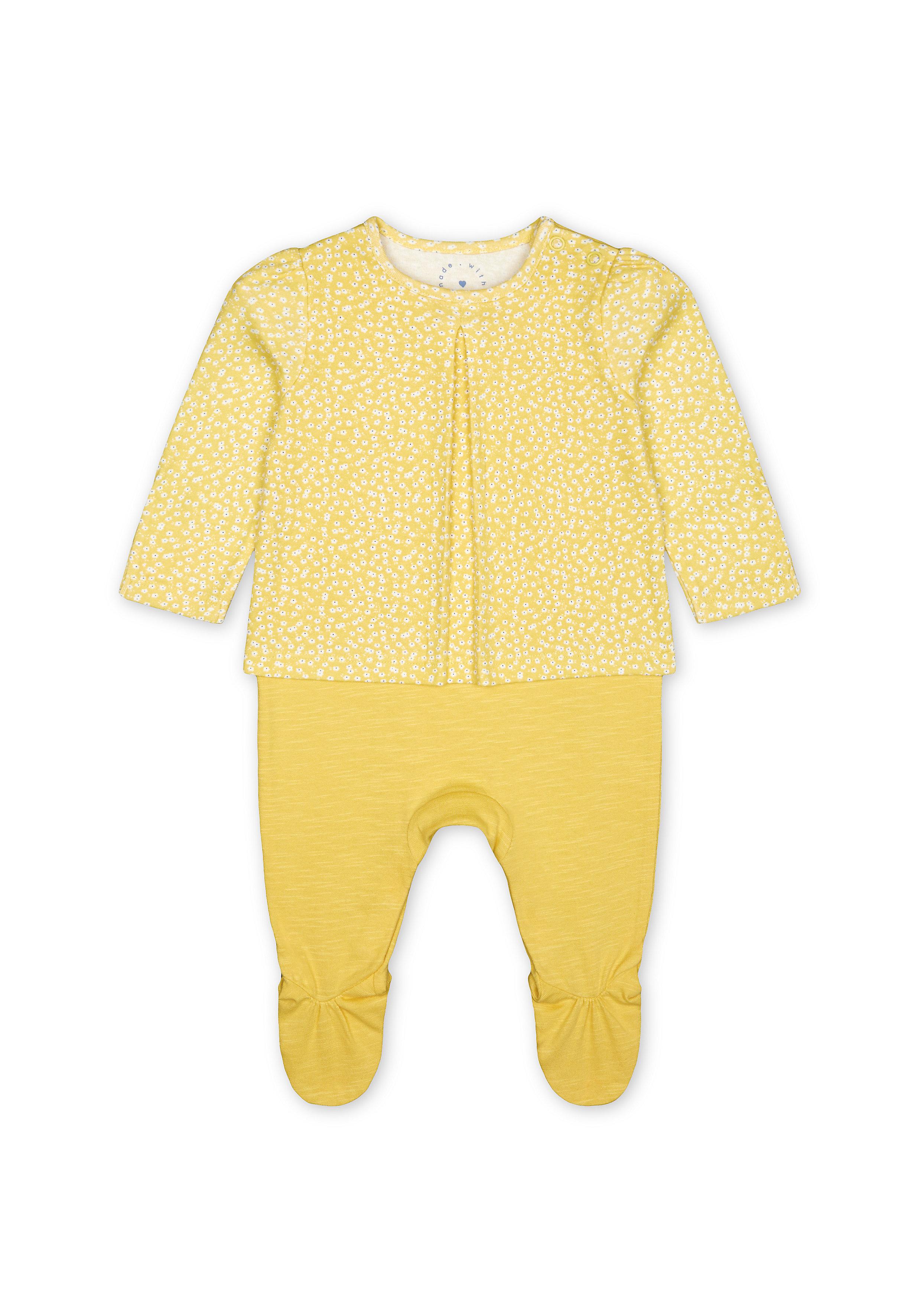 Mothercare   Girls Full Sleeves Romper Daisy Print - Yellow