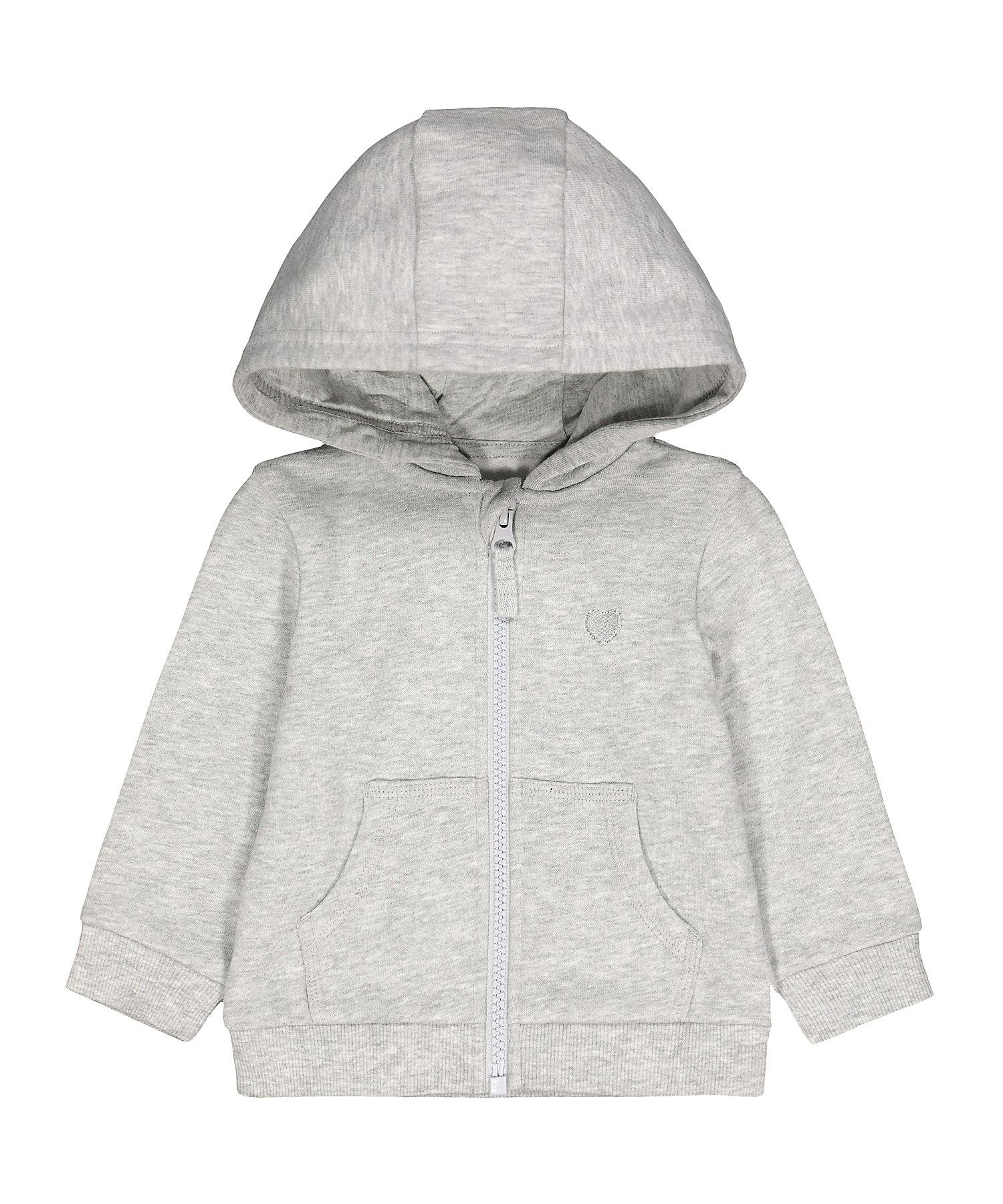 Mothercare | Girls Full Sleeves Hooded Sweatshirt Zip Opening - Grey