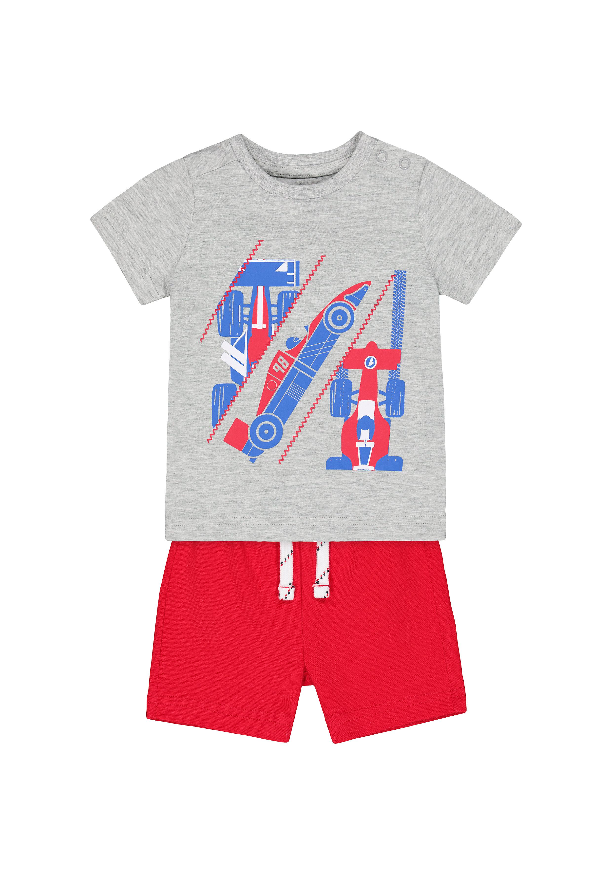 Mothercare | Boys Half Sleeves T-Shirt And Shorts Set Racing Car Print - Multicolor