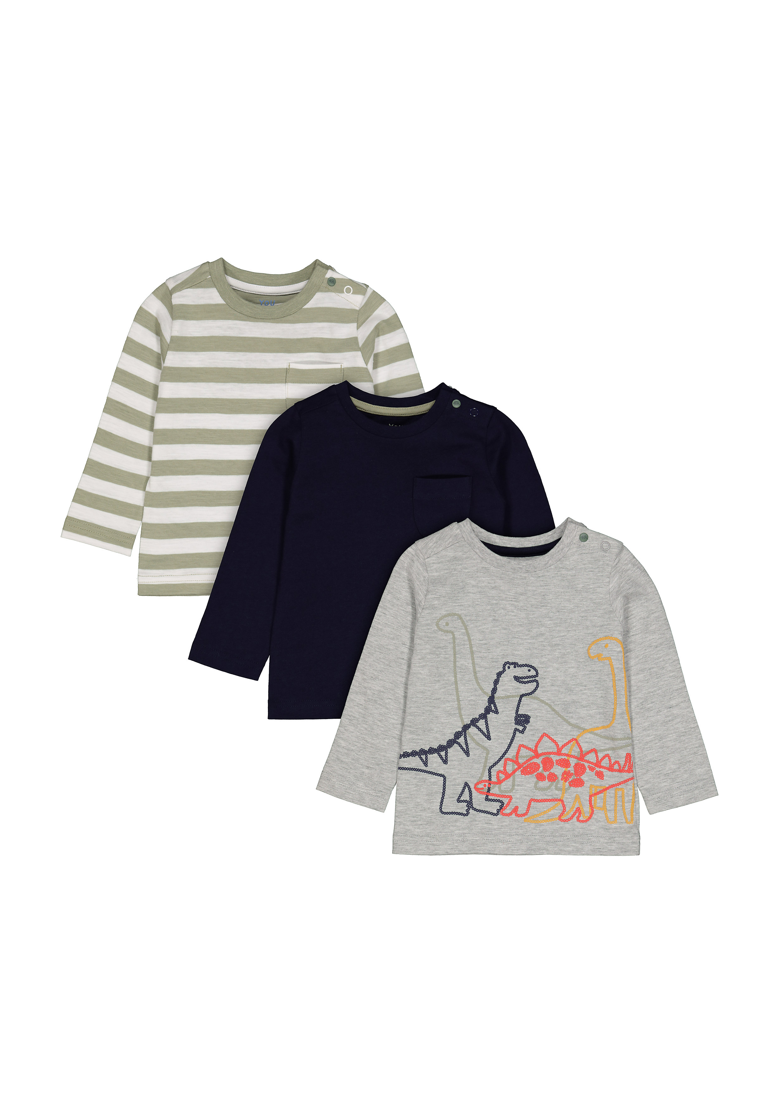 Mothercare | Boys Full Sleeves T-Shirt Striped And Dino Print - Pack Of 3 - Multicolor
