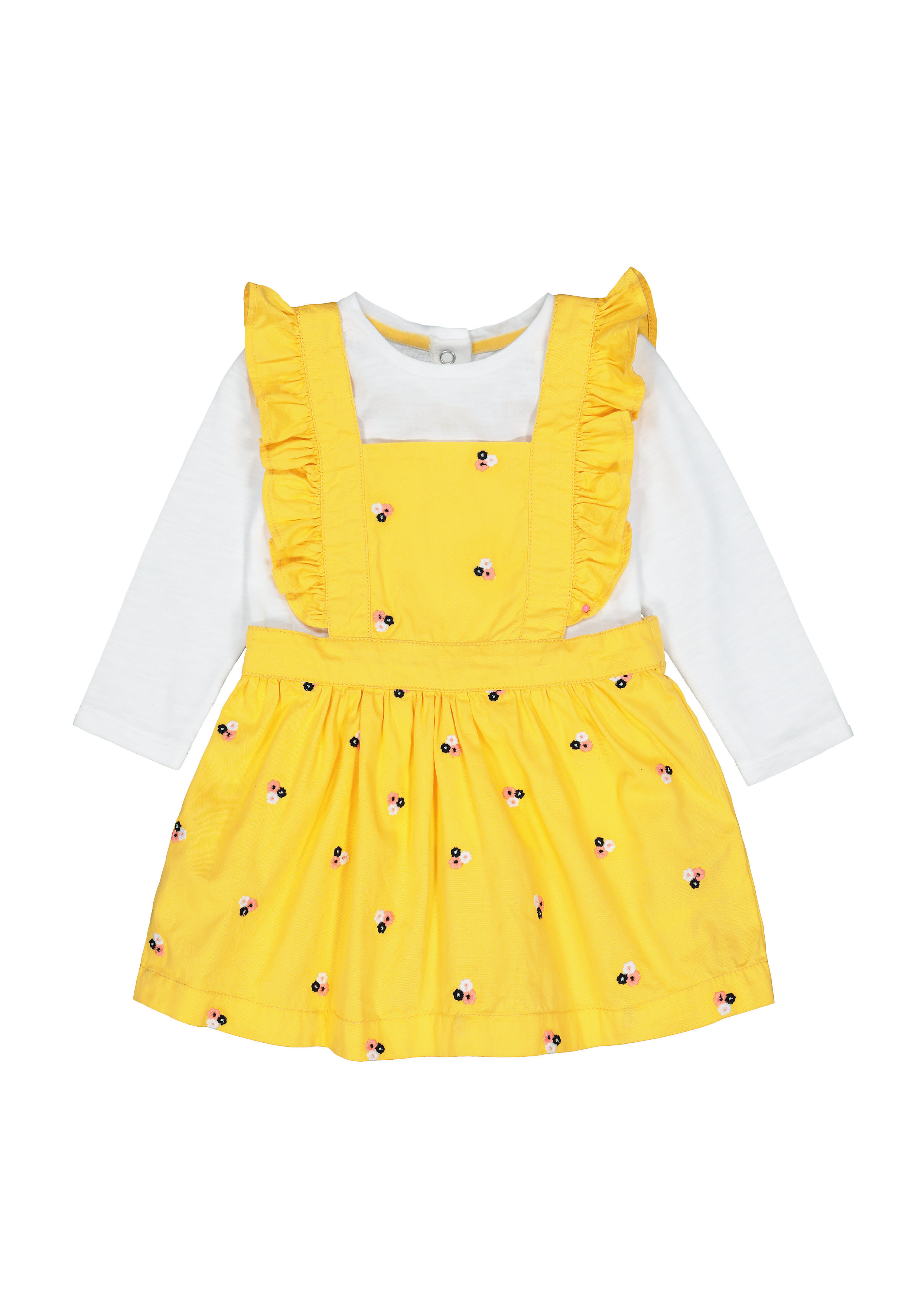 Mothercare | Girls Full Sleeves Dress & Tee Set Floral Embroidery - Mustard
