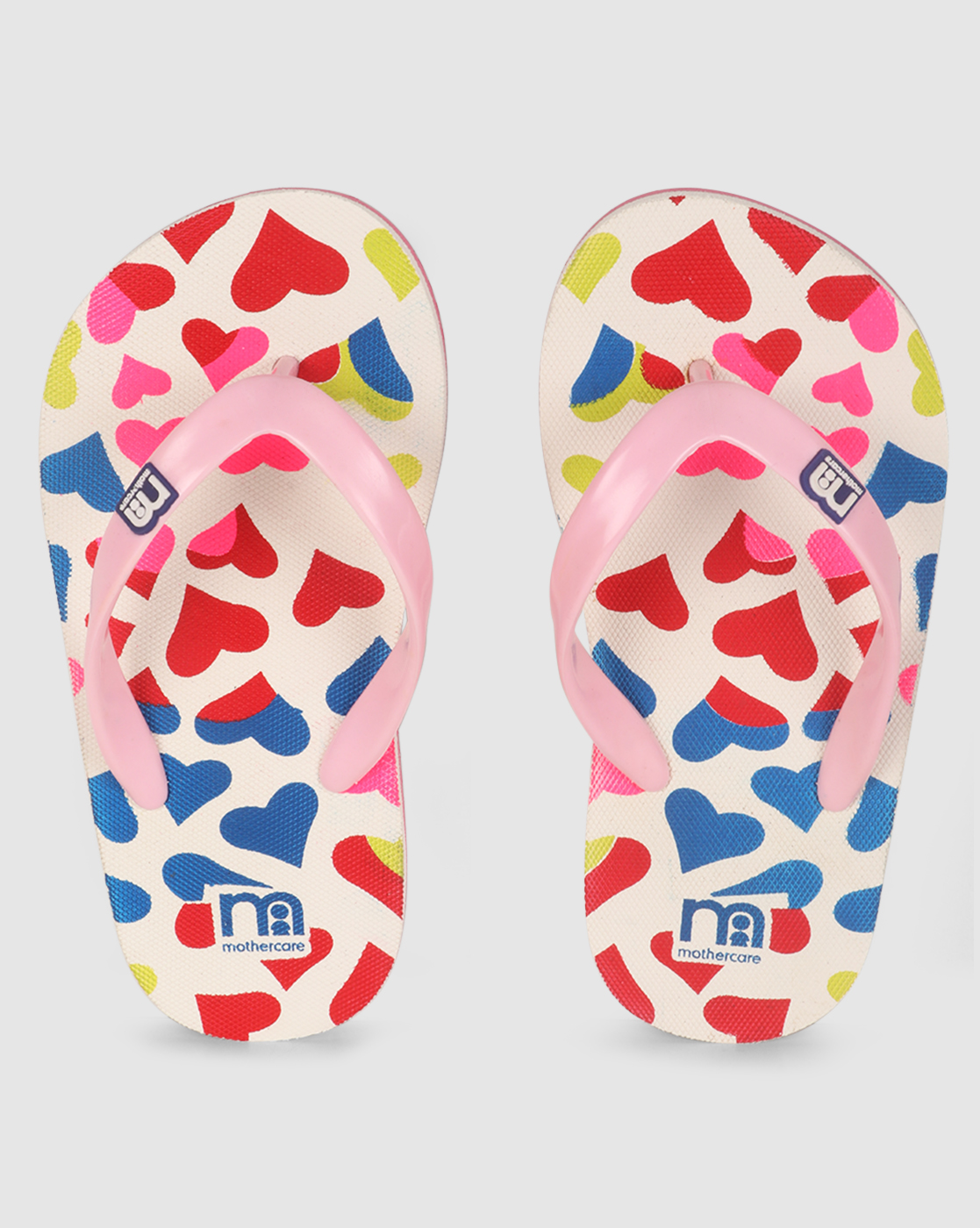 Mothercare | Girls Flip Flop Heart Print Multicolor