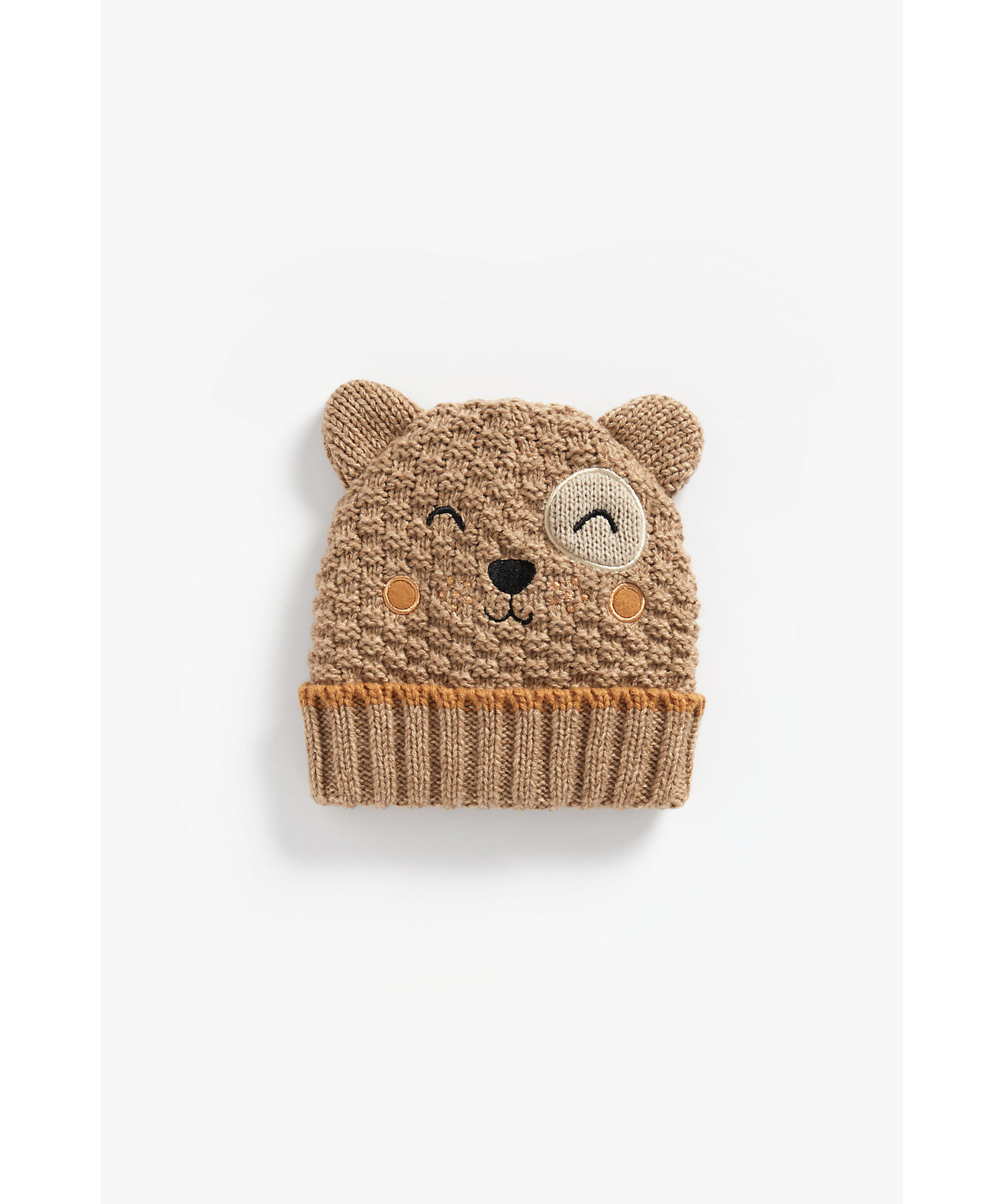 Mothercare | Boys Beanie Embroidered And 3D Ear Detail - Beige