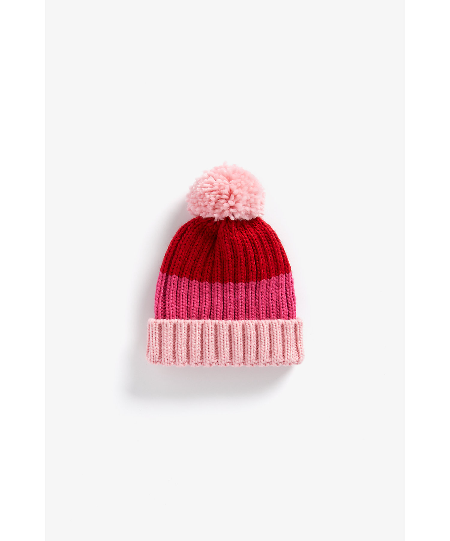 Mothercare | Girls Color Blocked Beanie Pom Pom Detail - Pink