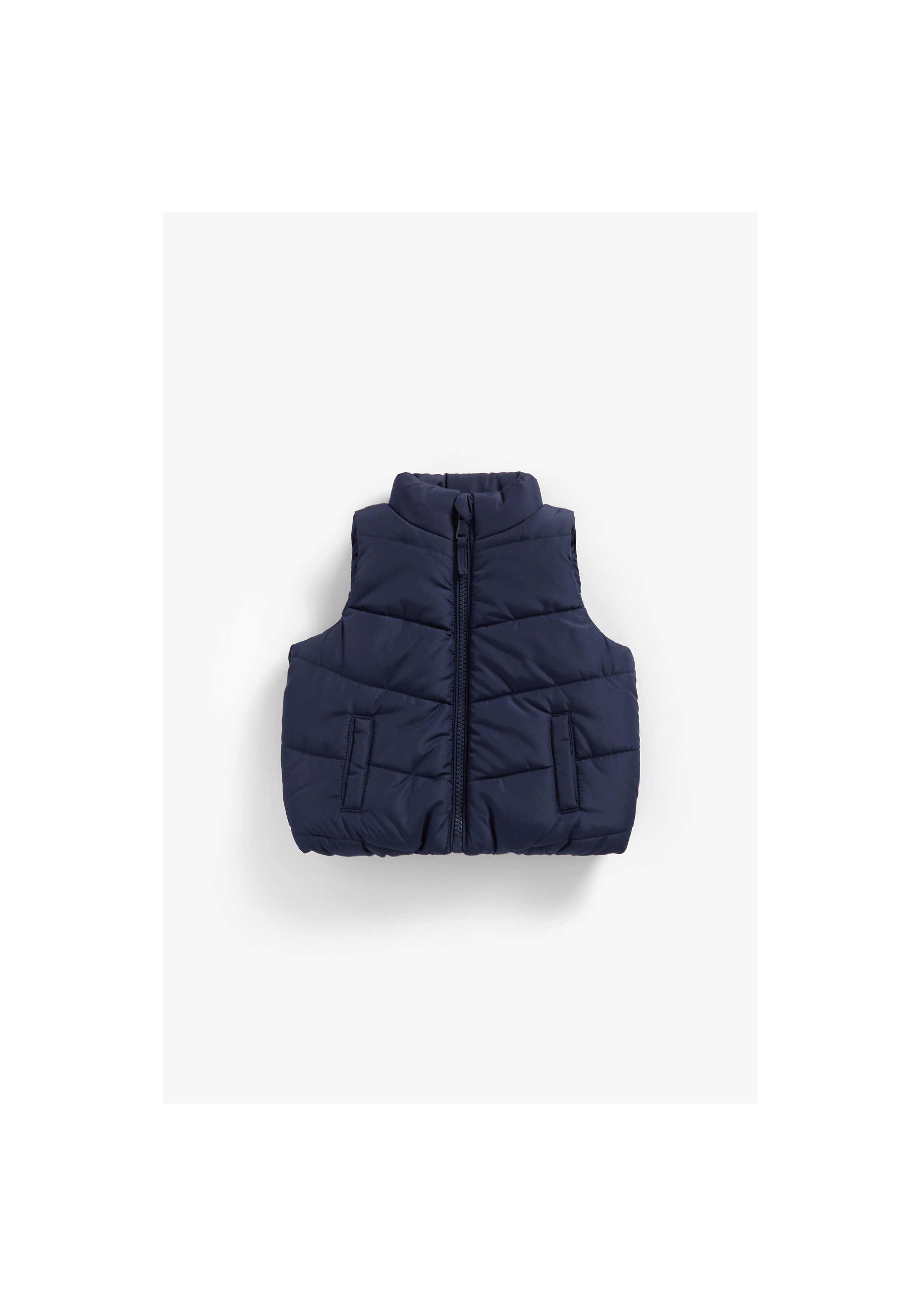 Mothercare | Boys Sleeveless Quilted Jacket Fleece Lined - Navy