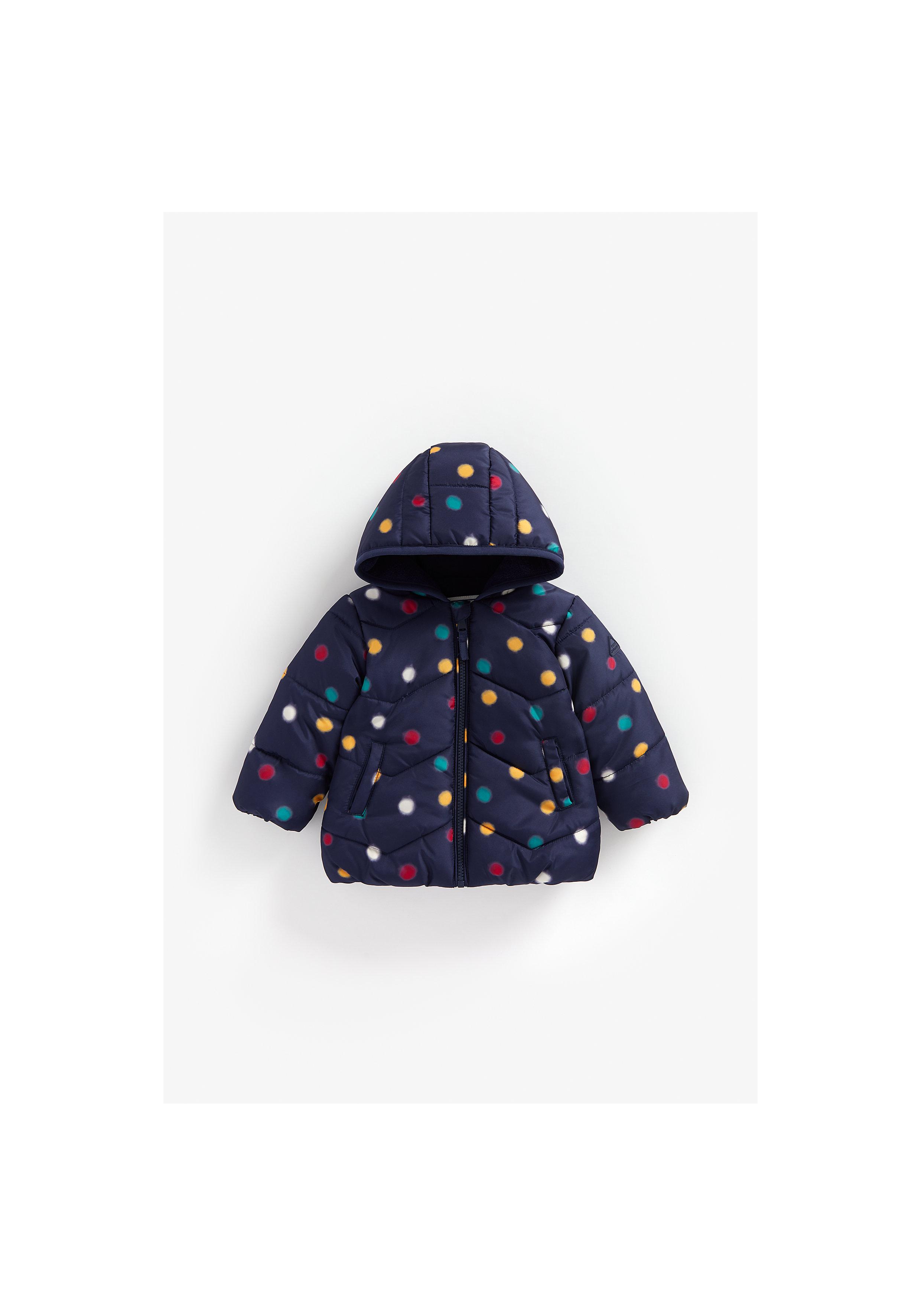 Mothercare | Girls Full Sleeves Jacket Polka Dot Print - Navy