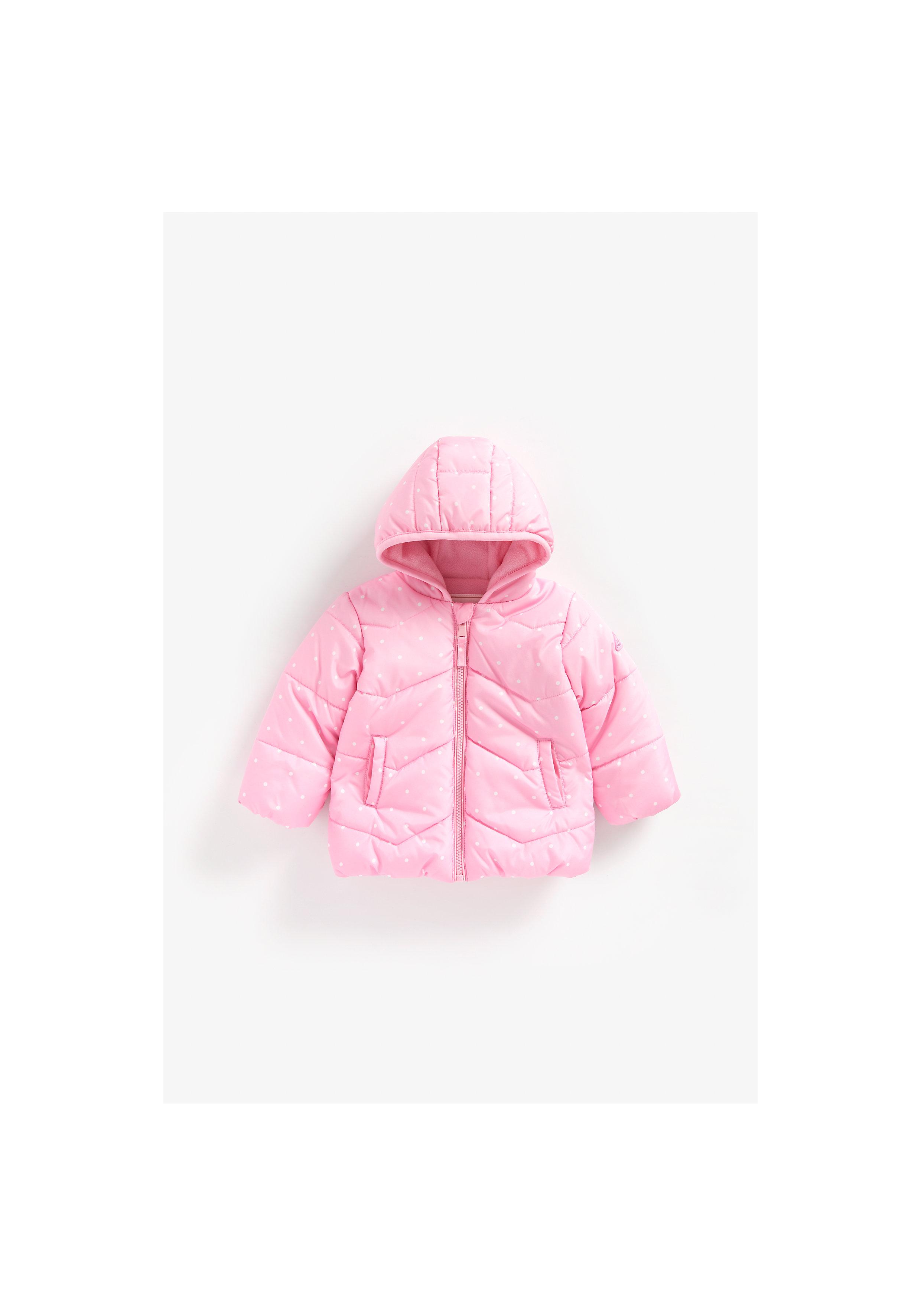 Mothercare | Girls Full Sleeves Fleece Lined Jacket Polka Dot Print - Pink