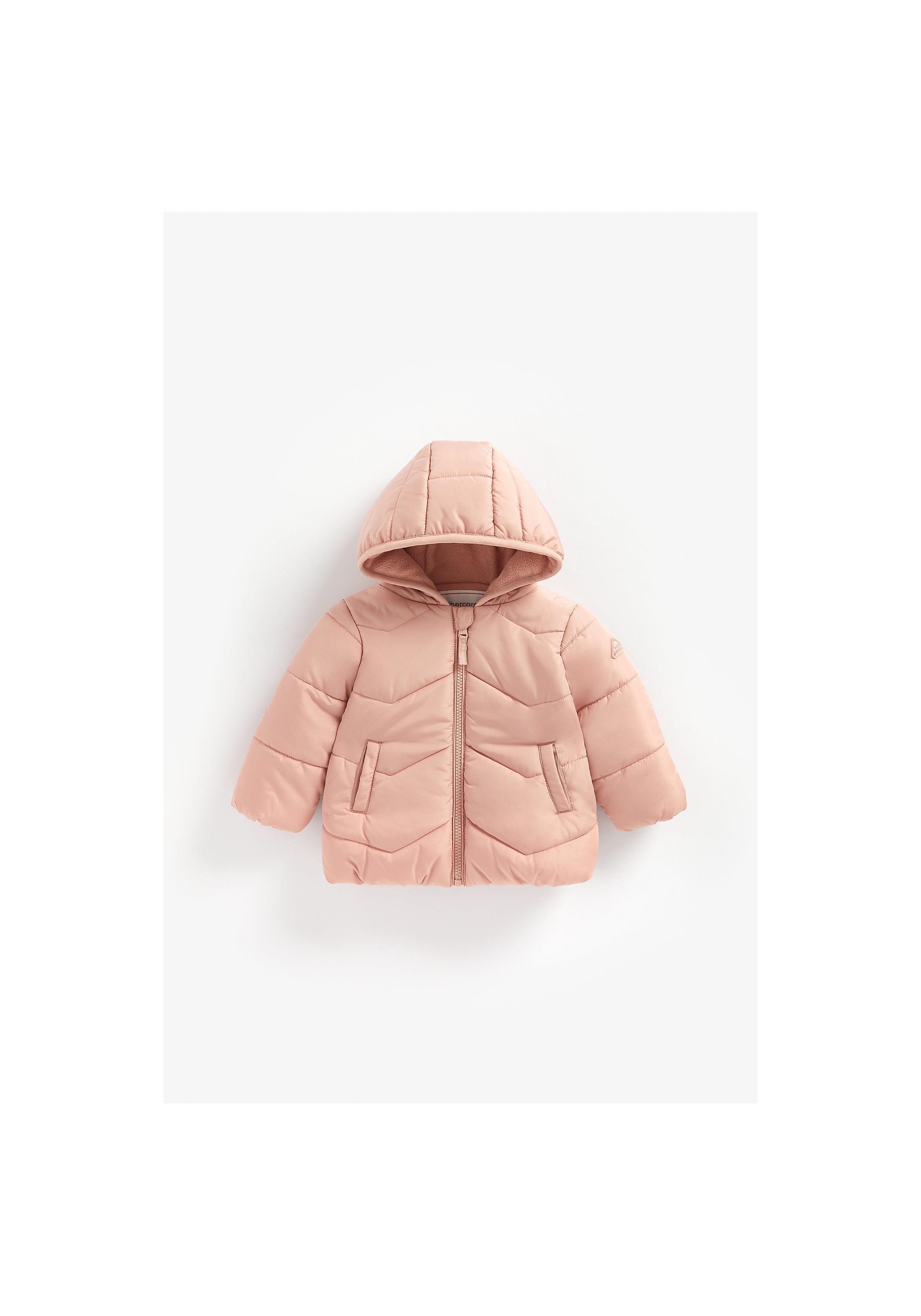 Mothercare | Girls Full Sleeves Fleece Lined Jacket Hooded - Pink