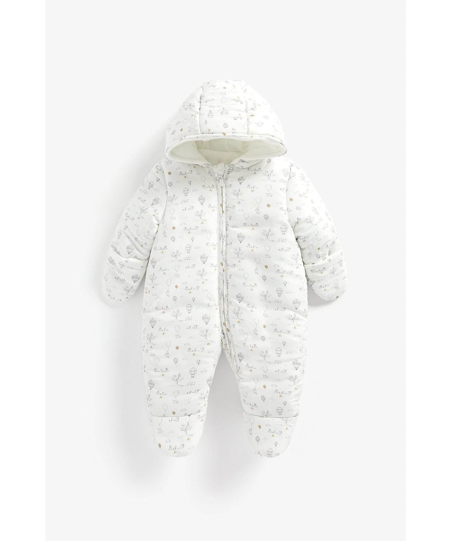 Mothercare | Unisex Full Sleeves Snowsuit Balloon Print - White