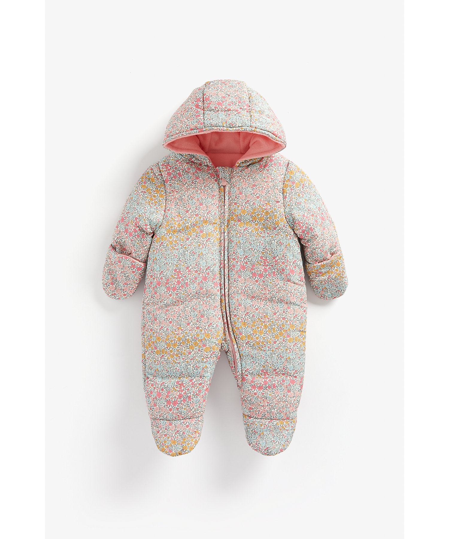 Mothercare | Girls Full Sleeves Snowsuit Floral Print - Multicolor