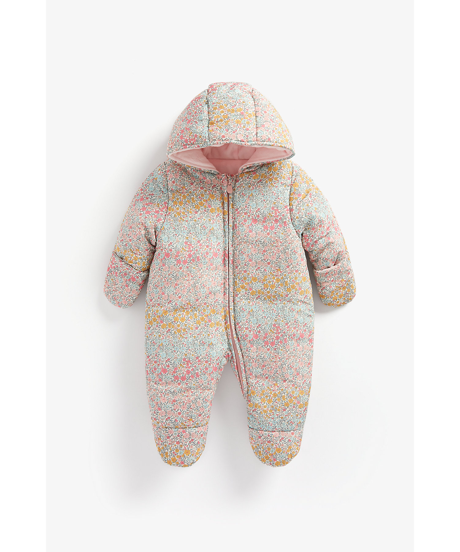 Mothercare | Girls Full Sleeves Velour Lined Snowsuit Floral Print - Multicolor