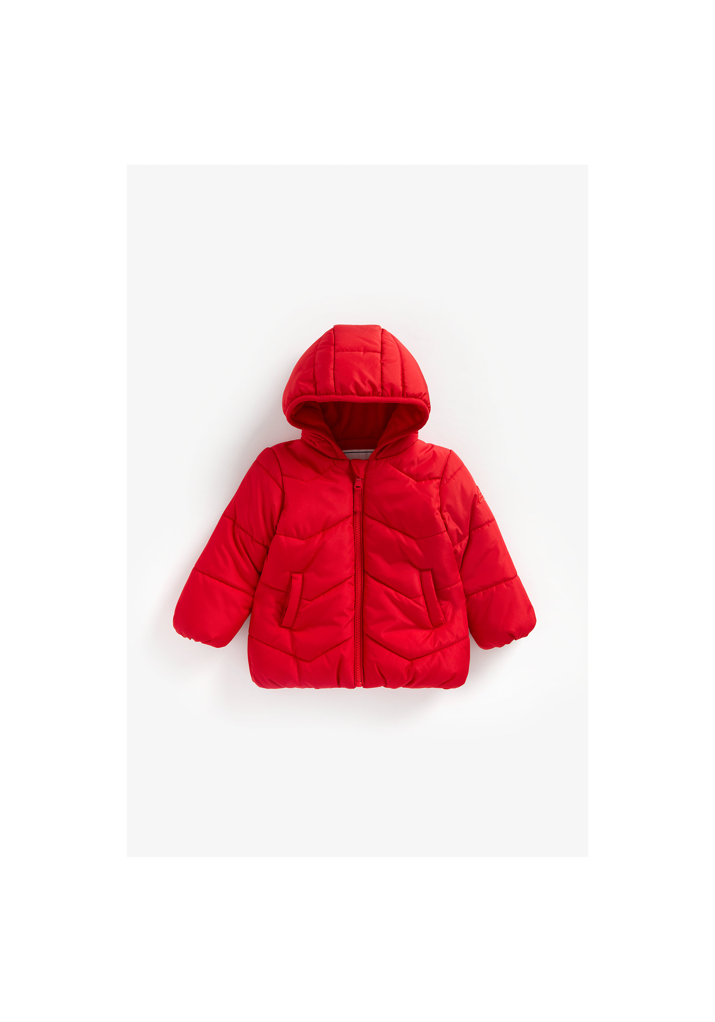 Mothercare | Boys Full Sleeves Fleece Lined Quilted Jacket Hooded - Red
