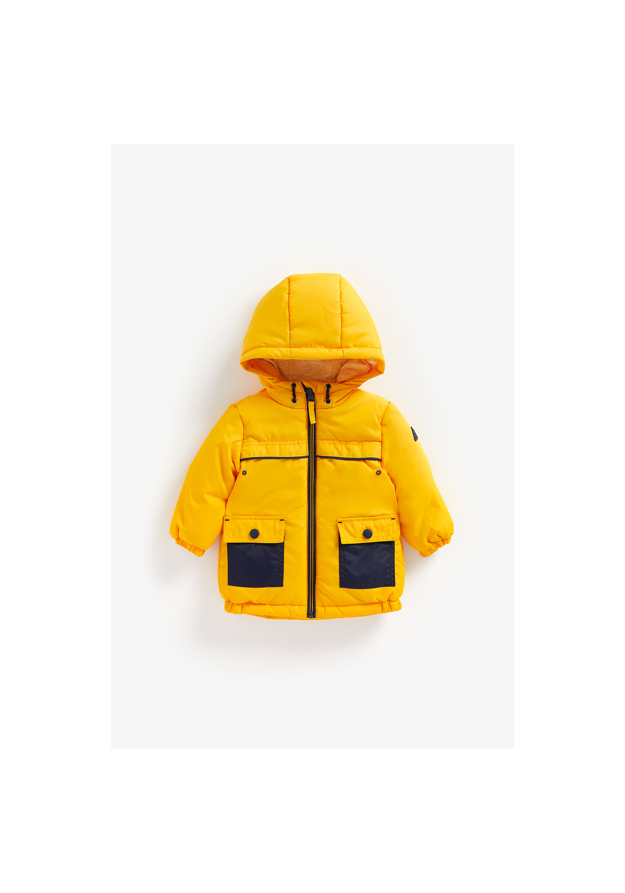 Mothercare | Boys Full Sleeves Fleece Lined Jacket Pocket Detail - Yellow