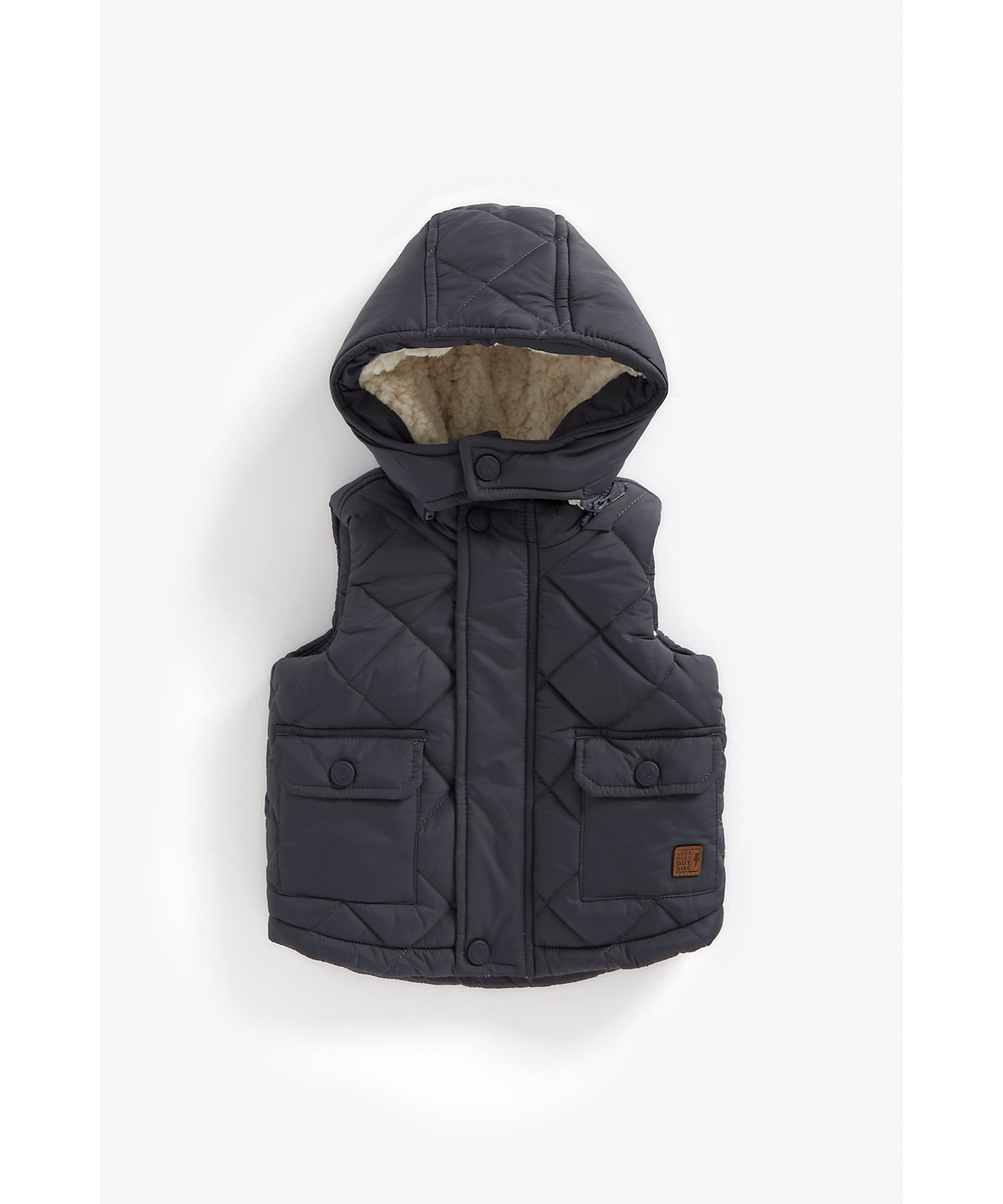 Mothercare | Boys Full Sleeves Quilted Jacket Dino Print - Charcoal