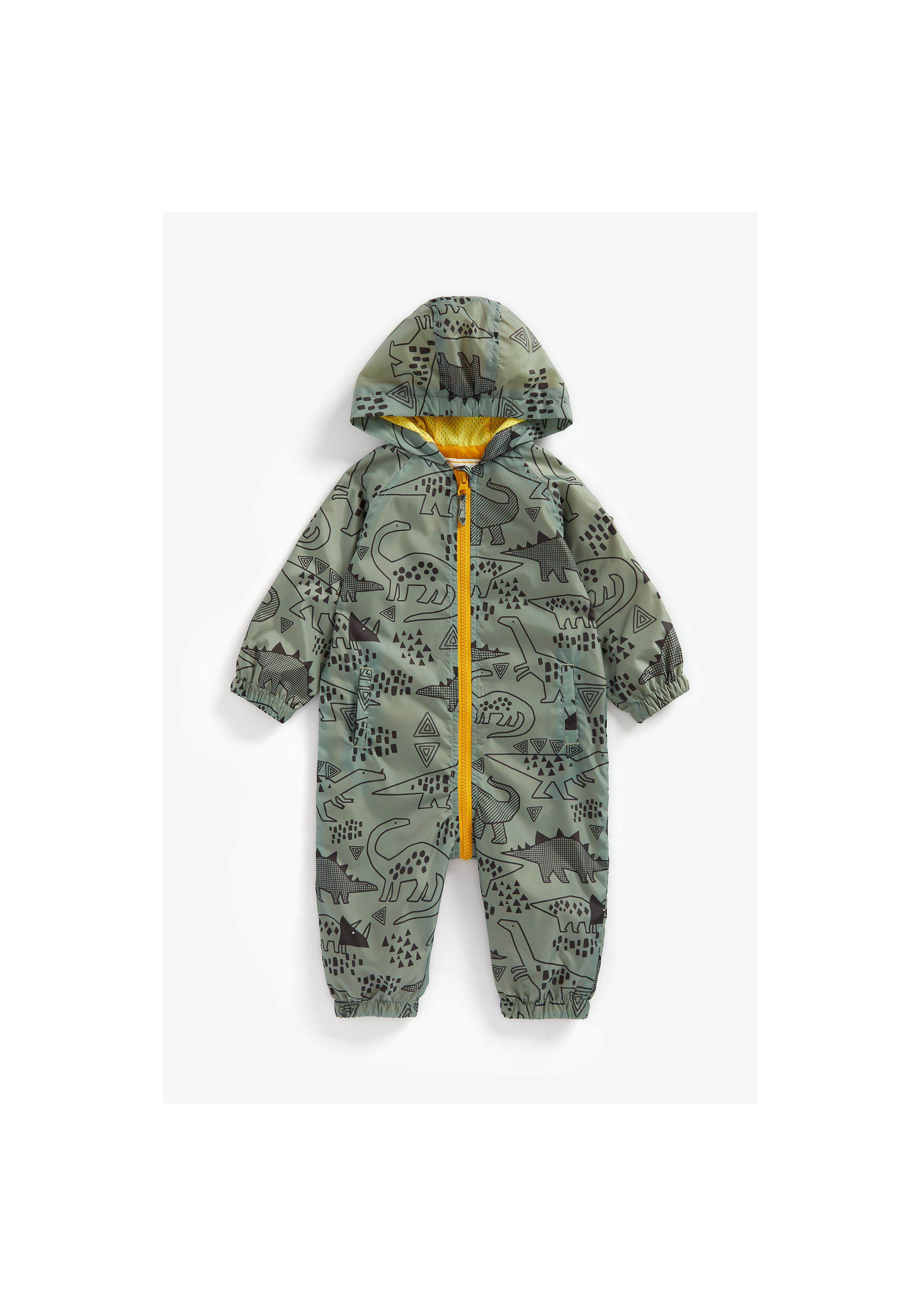 Mothercare | Boys Full Sleeves Puddlesuit Dino Print - Green