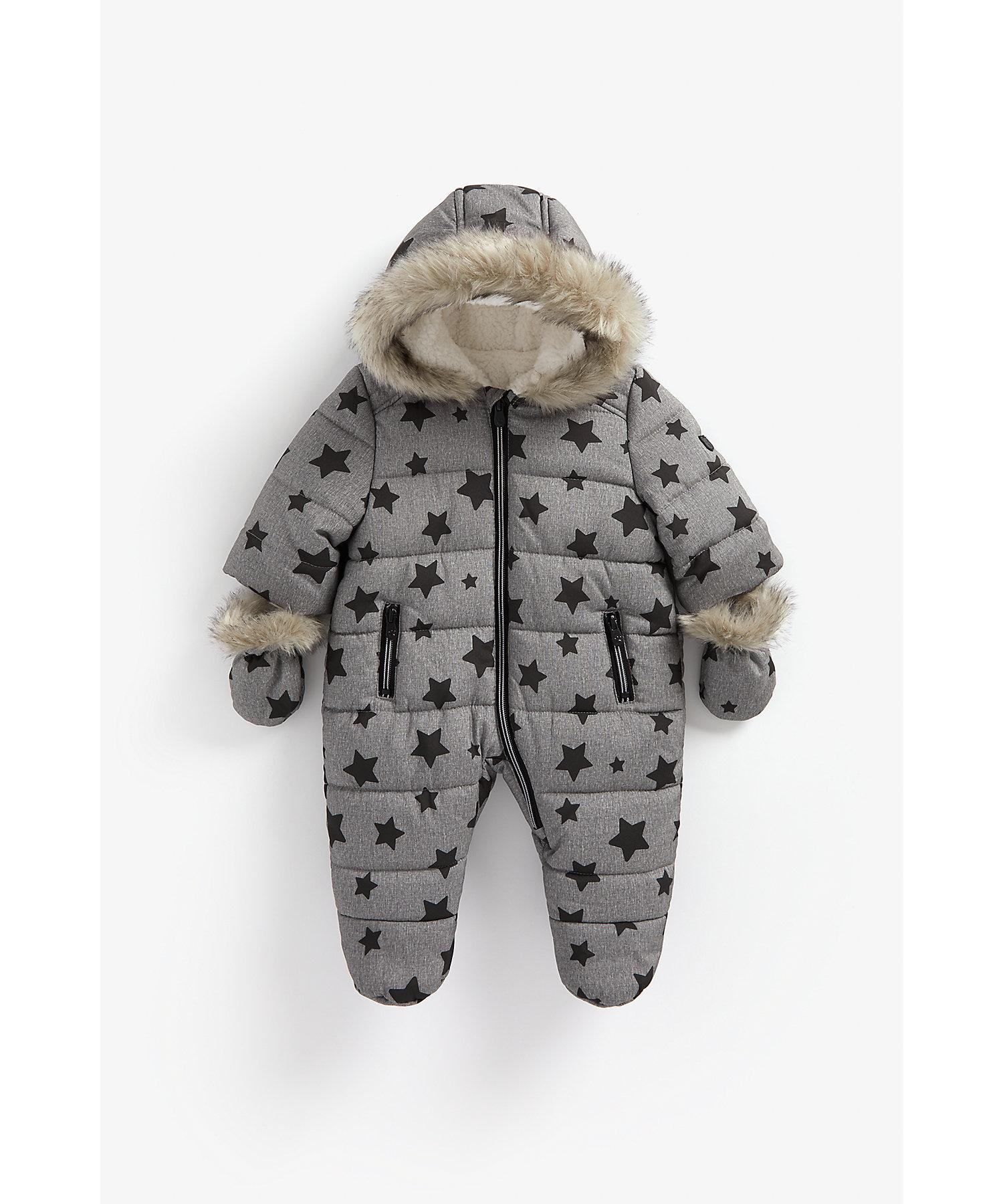 Mothercare | Boys Full Sleeves Snowsuit Star Print - Grey