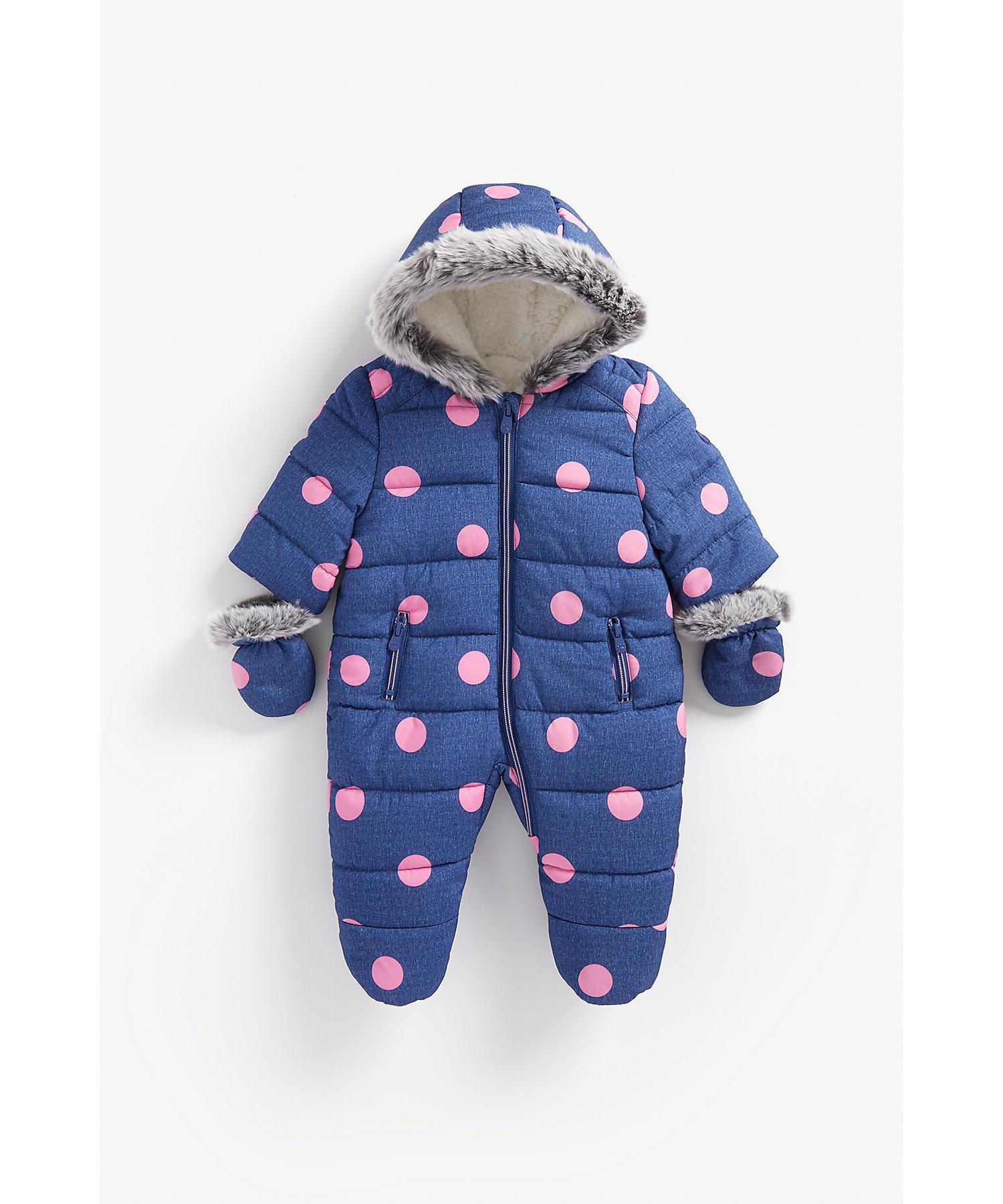Mothercare | Girls Full Sleeves Snowsuit Polka Dot Print - Navy